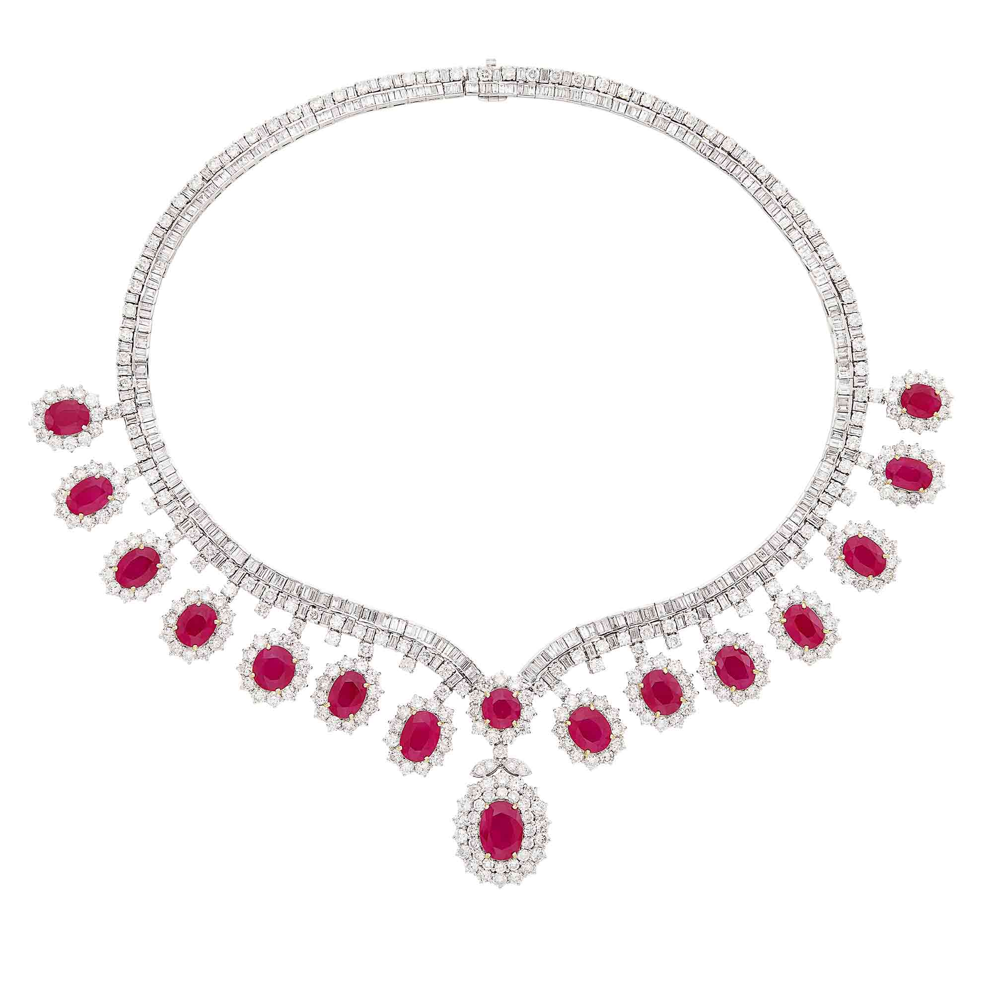 Lot image - White Gold, Ruby and Diamond Necklace