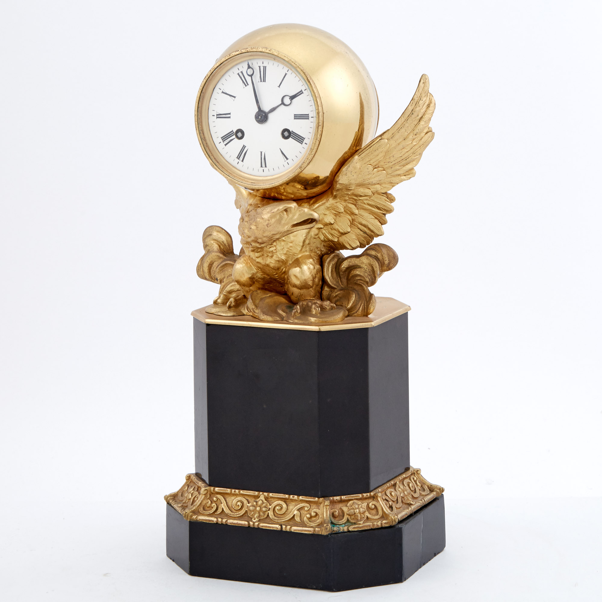 Lot image - Neoclassical Style Gilt-Metal and Black Marble Mantel Clock with Figure of an Eagle