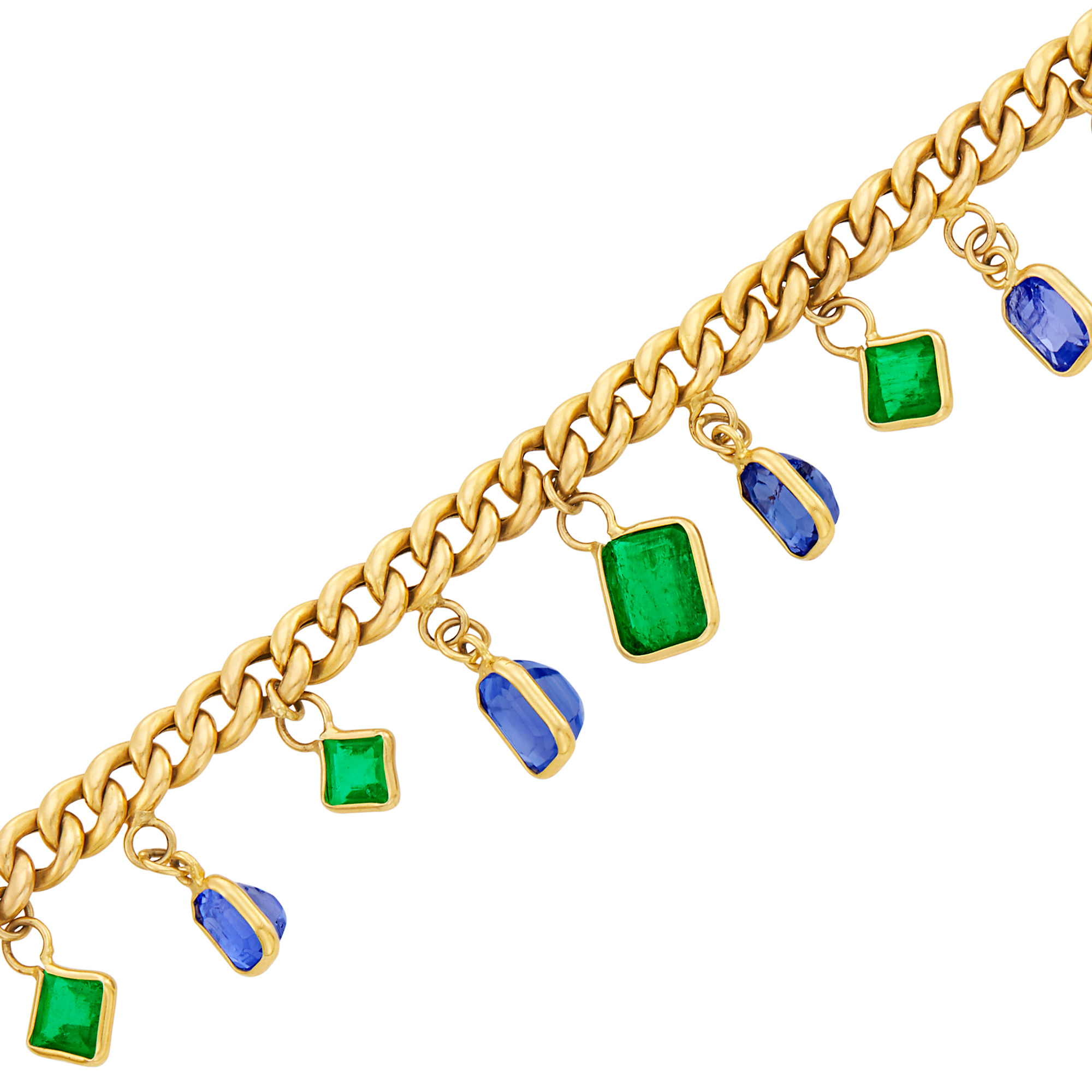 Lot image - Gold, Sapphire and Emerald Fringe Curb Link Bracelet