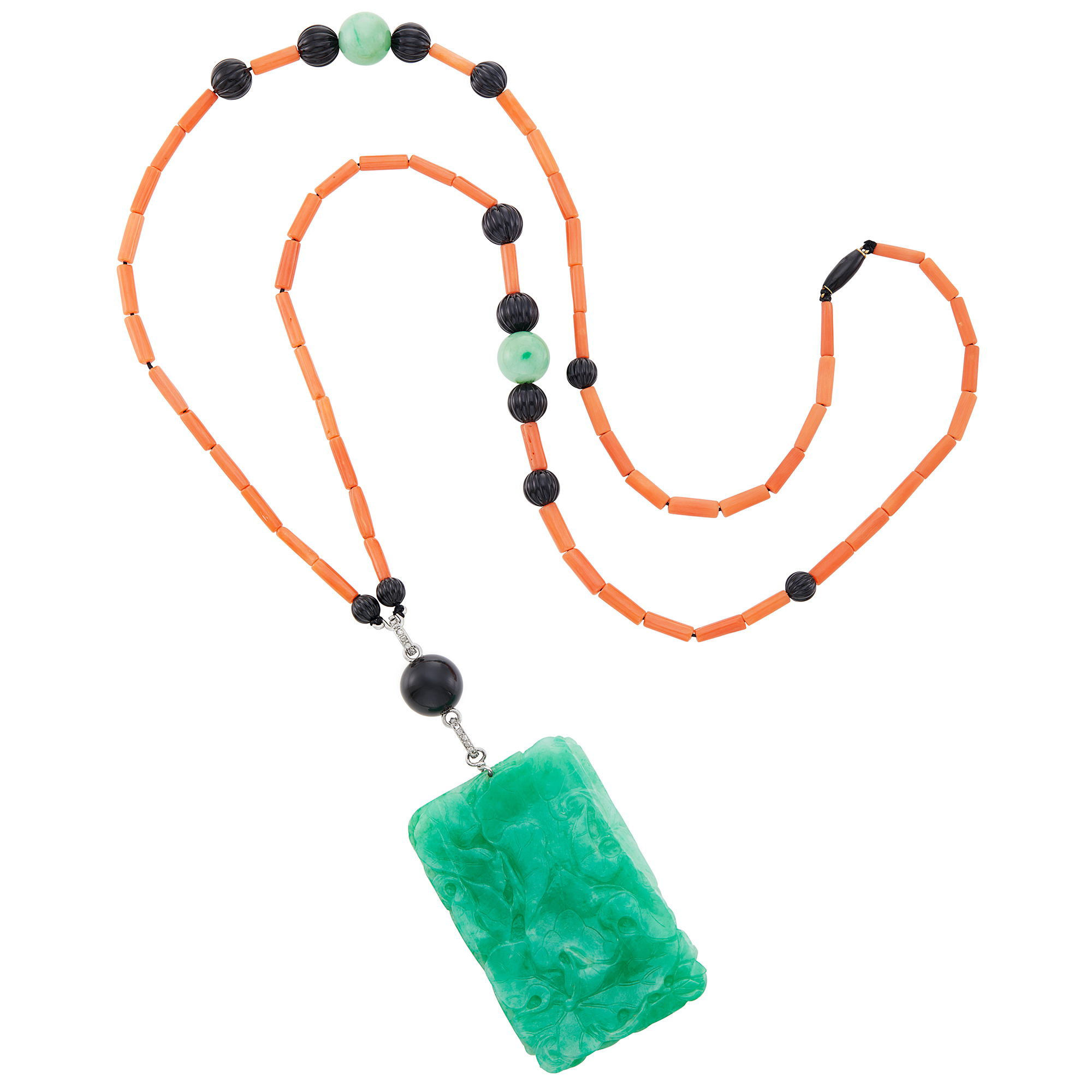 Lot image - Cartier Long Coral, Jade and Fluted Black Onyx Bead, Carved Jade and Diamond Pendant- Necklace