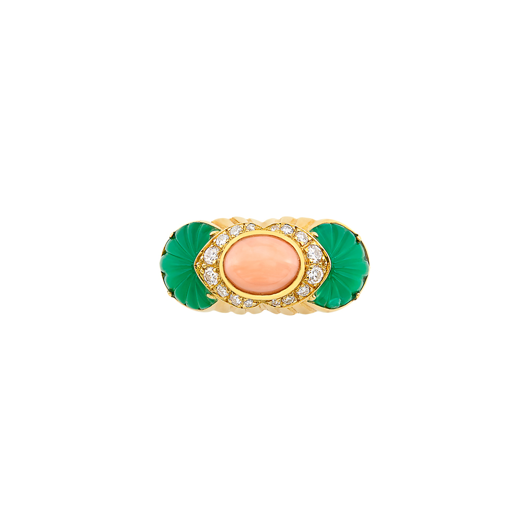 Lot image - Gold, Angel Skin Coral, Carved Green Onyx and Diamond Ring, Cartier, France