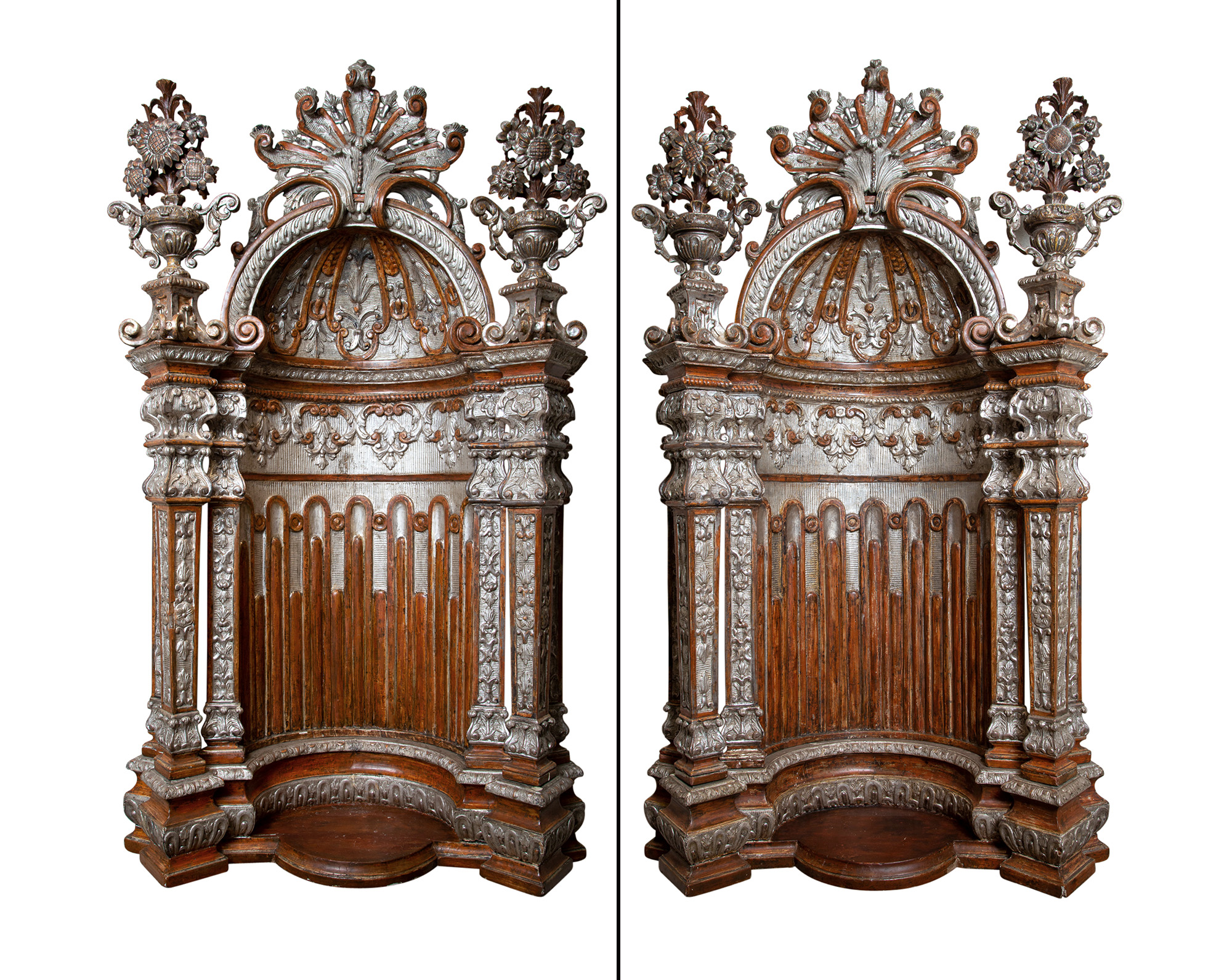 Lot image - Pair of Italian Baroque Painted and Part-Silvered Architectural Niches