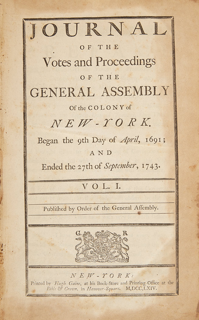 Lot image - [NEW YORK-COLONIAL]  Journal of the Votes and Proceedings of the General Assembly of the Colony of New-York.