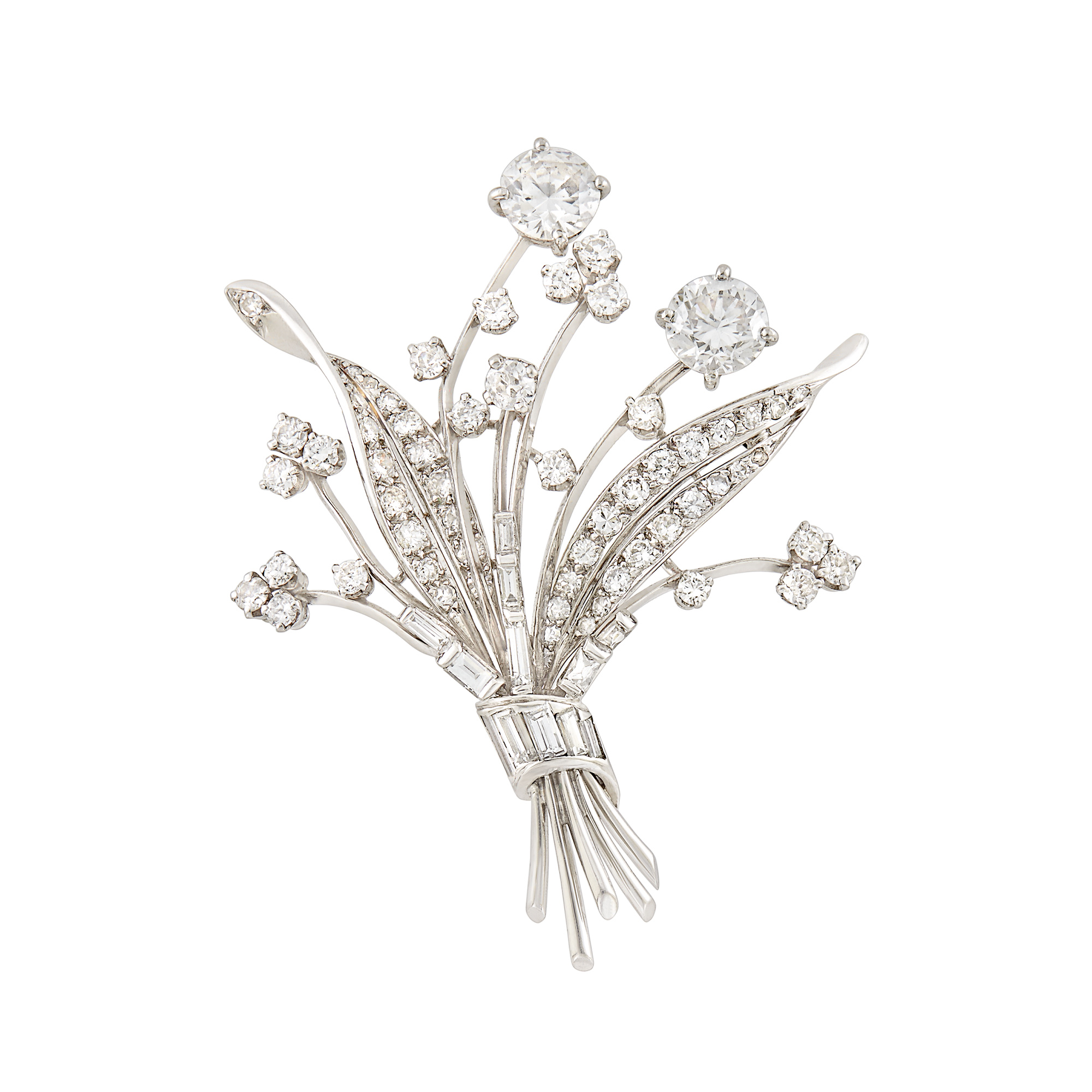 Lot image - Platinum and Diamond Bouquet Brooch