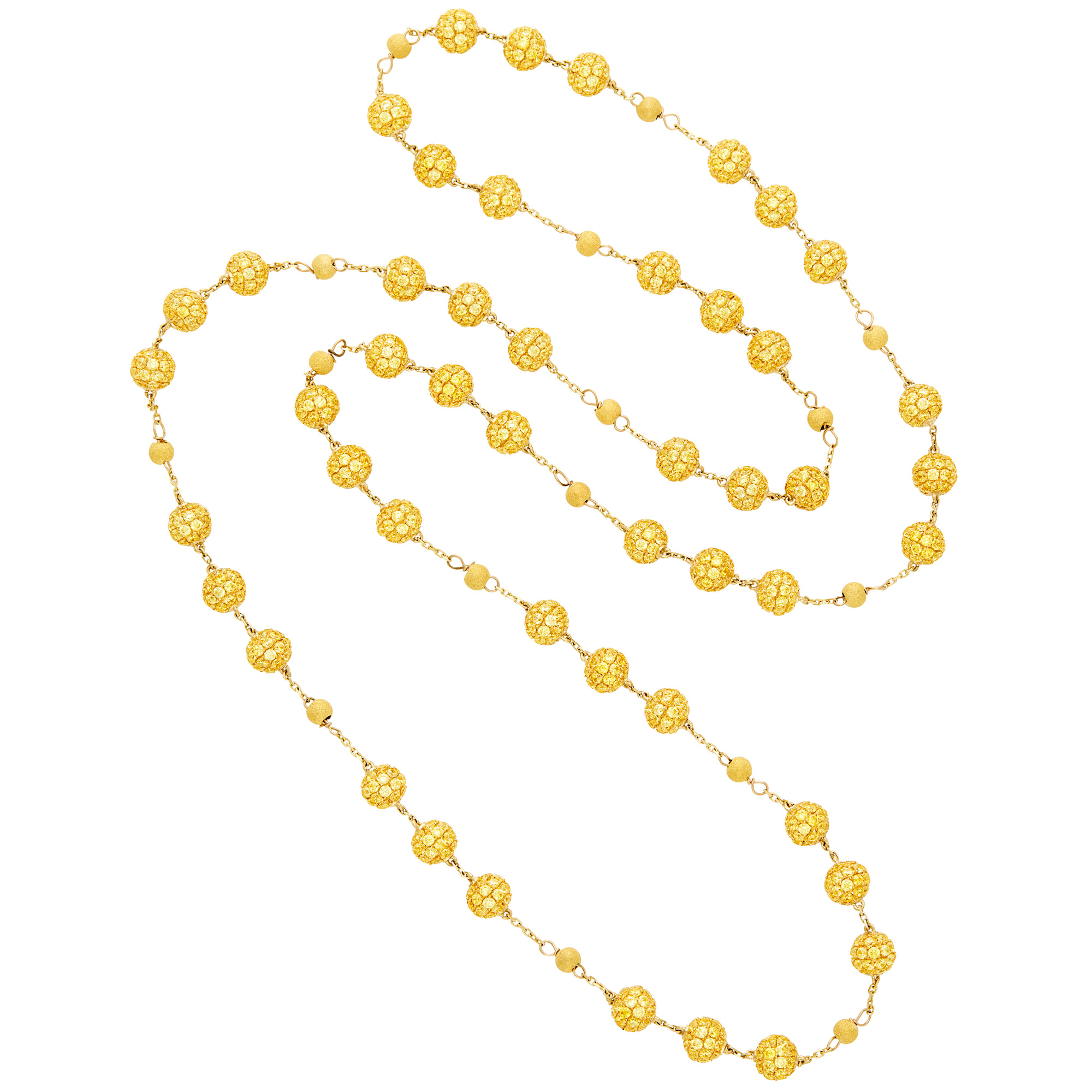 Lot image - Long Gold and Yellow Sapphire Bead Chain Necklace