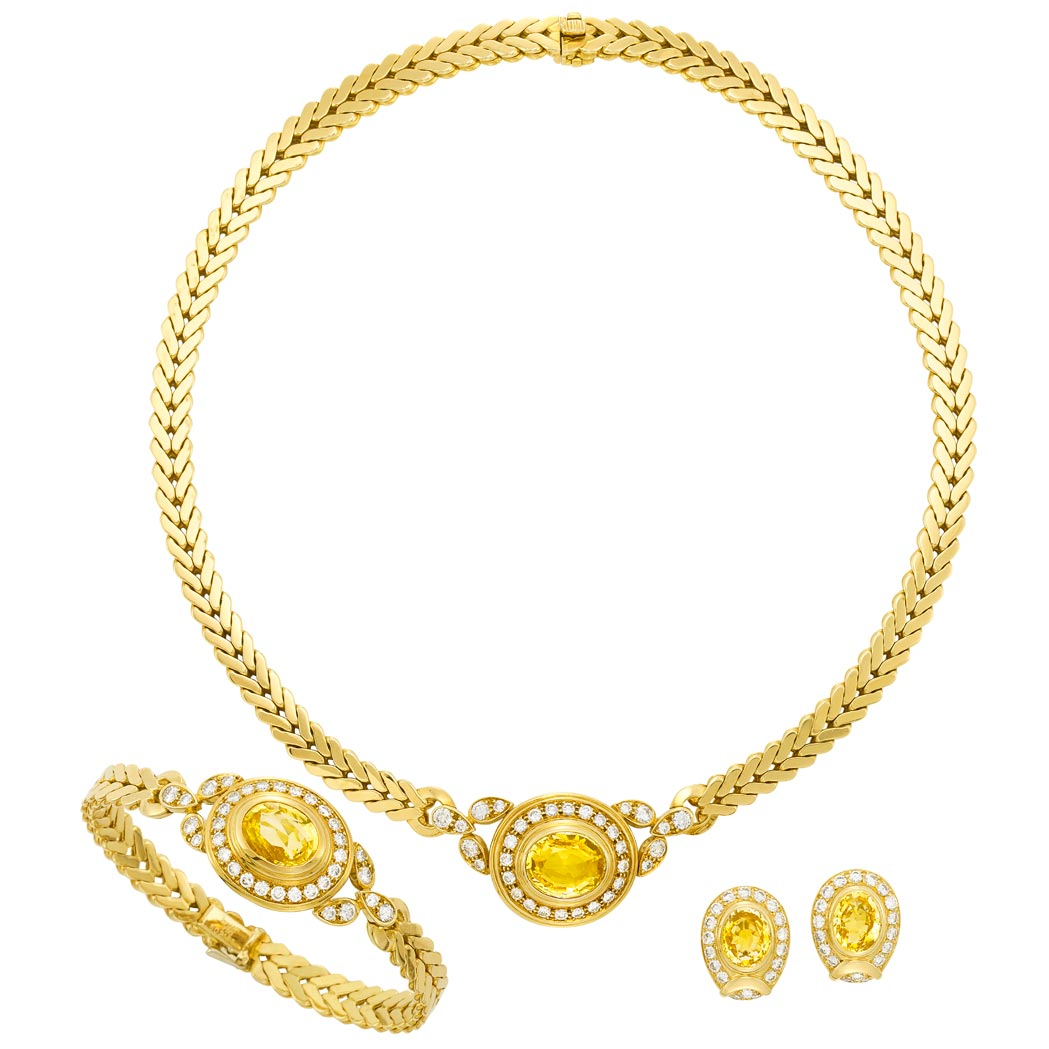 Lot image - Gold, Yellow Sapphire and Diamond Necklace, Bracelet, Cartier, France, and Pair of Earrings