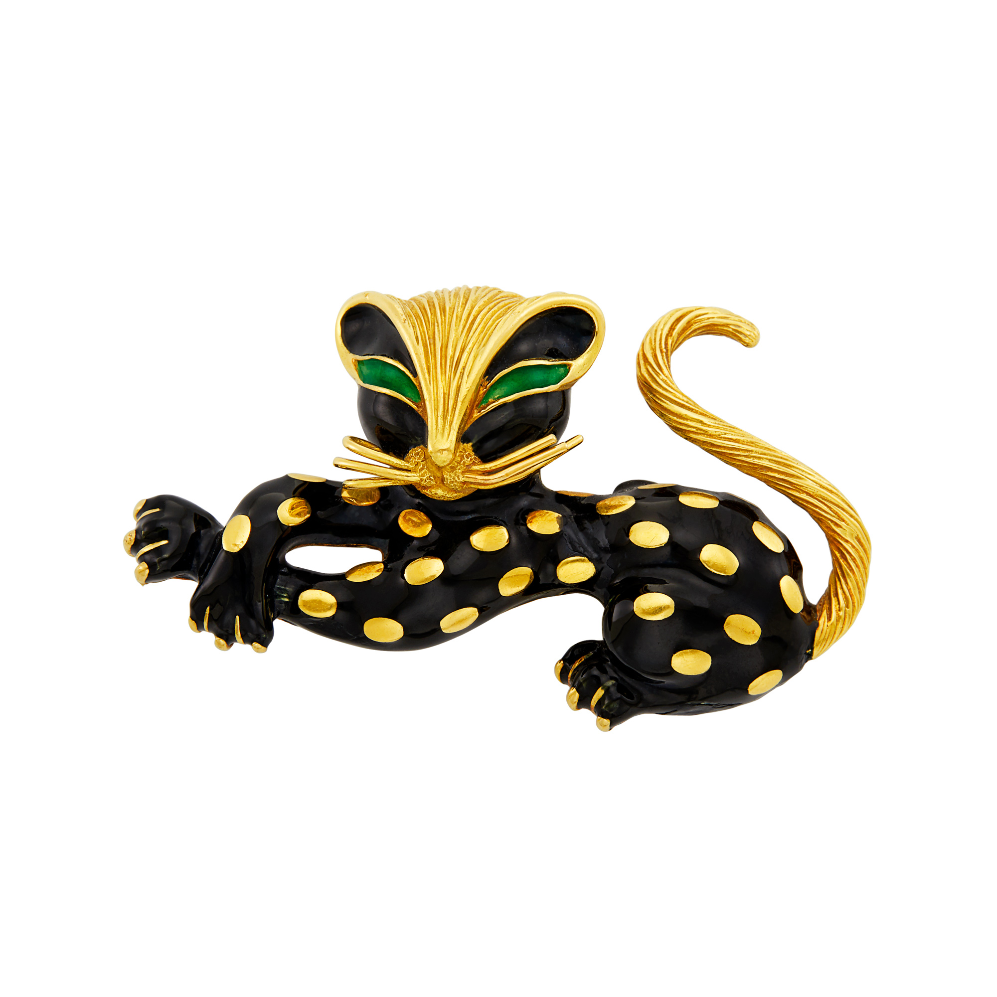 Lot image - Gold and Black Enamel Cat Clip-Brooch, Fred, Paris