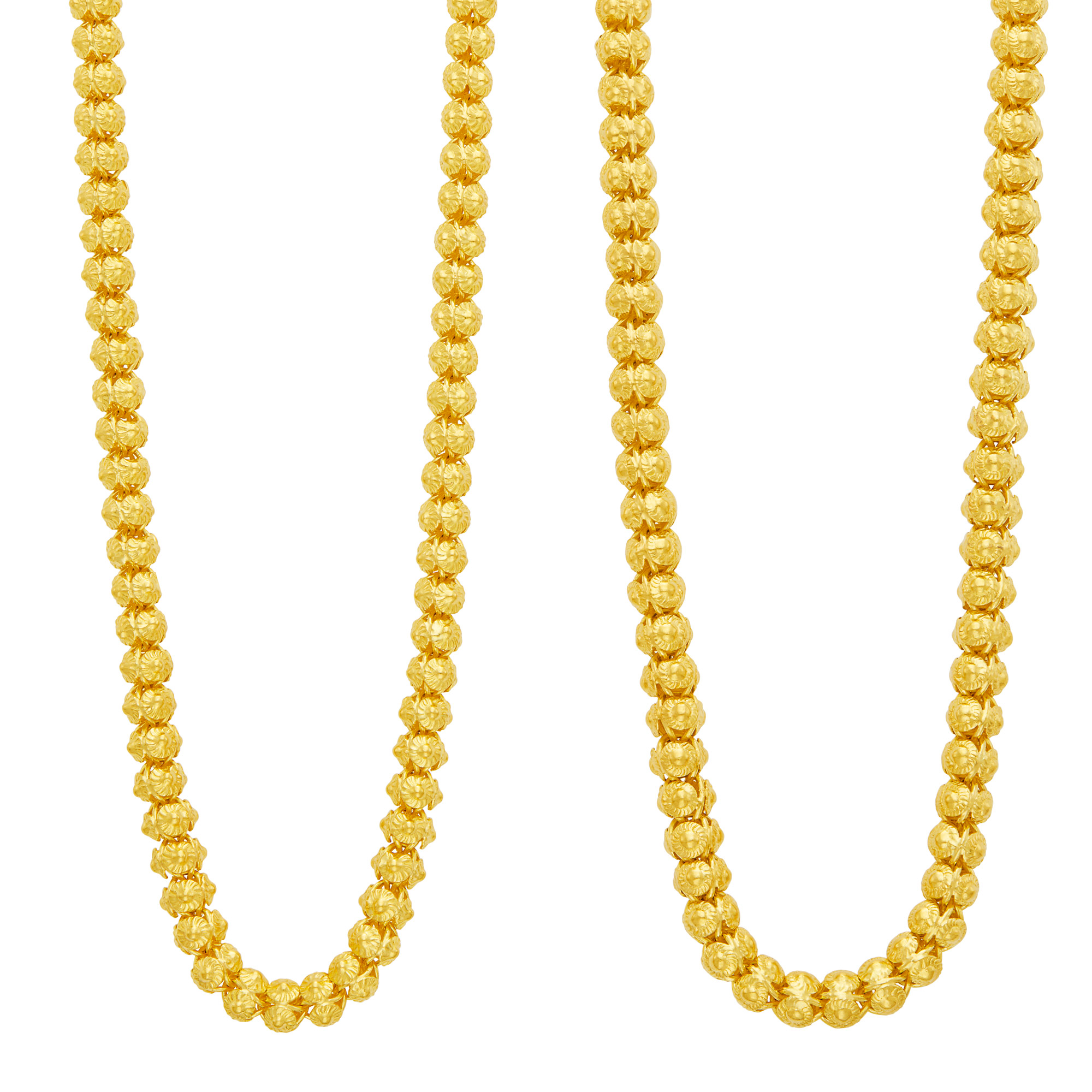 Lot image - Two High Karat Gold Bead Necklaces