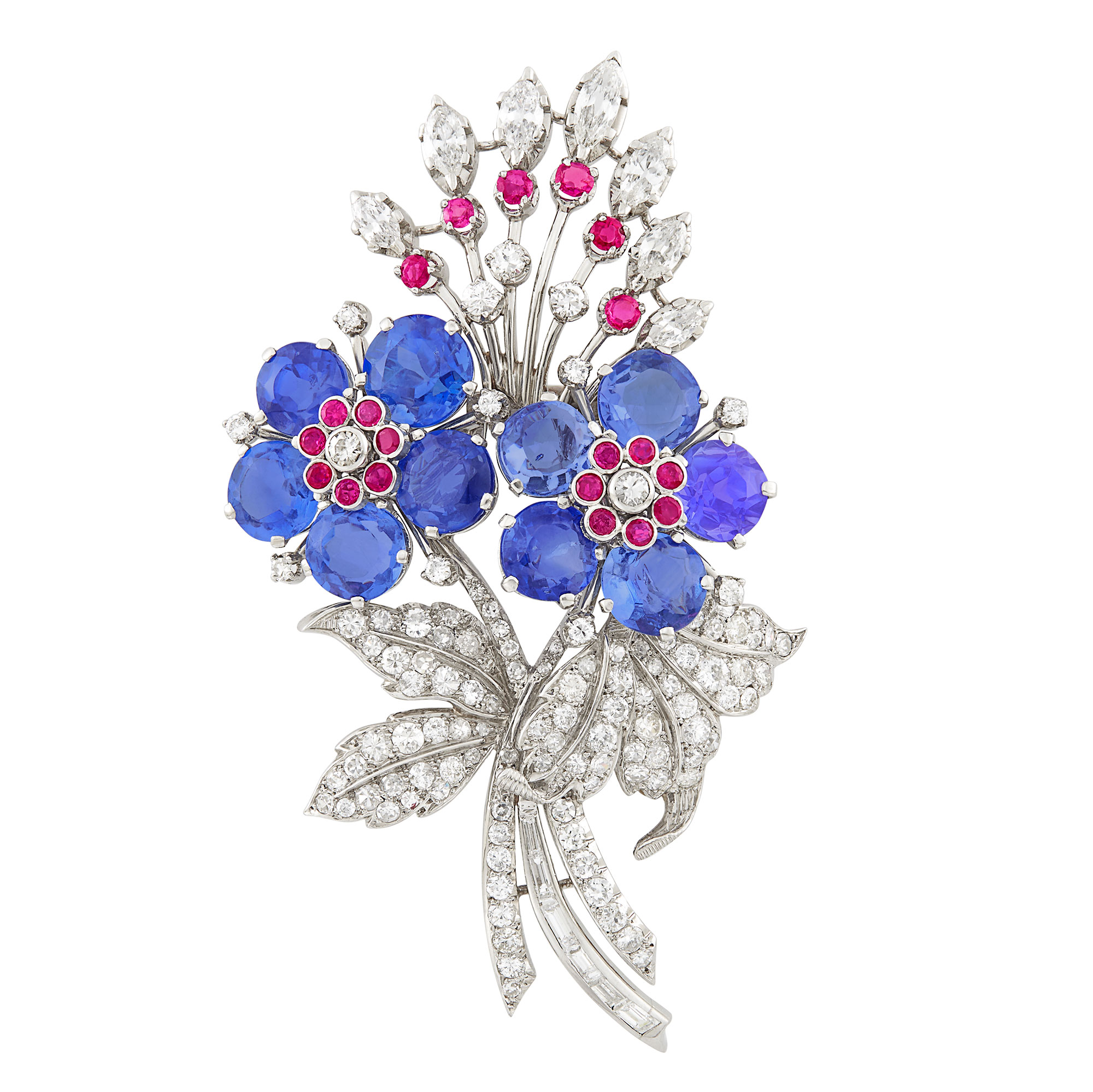 Lot image - Platinum, Sapphire, Ruby and Diamond Bouquet Clip-Brooch