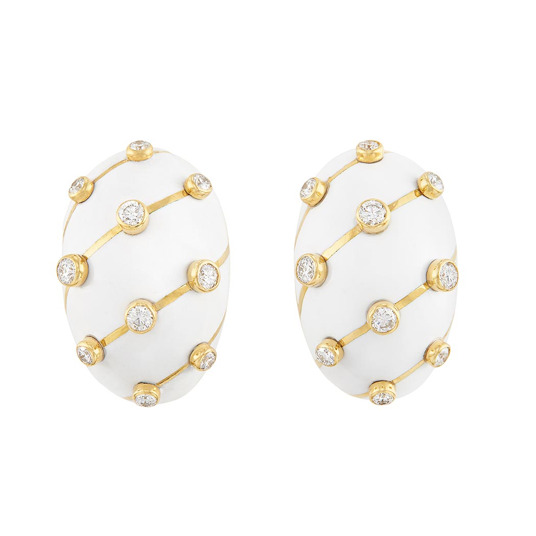 Lot image - Pair of Gold, White Enamel and Diamond Earclips, Tiffany & Co., Schlumberger, France