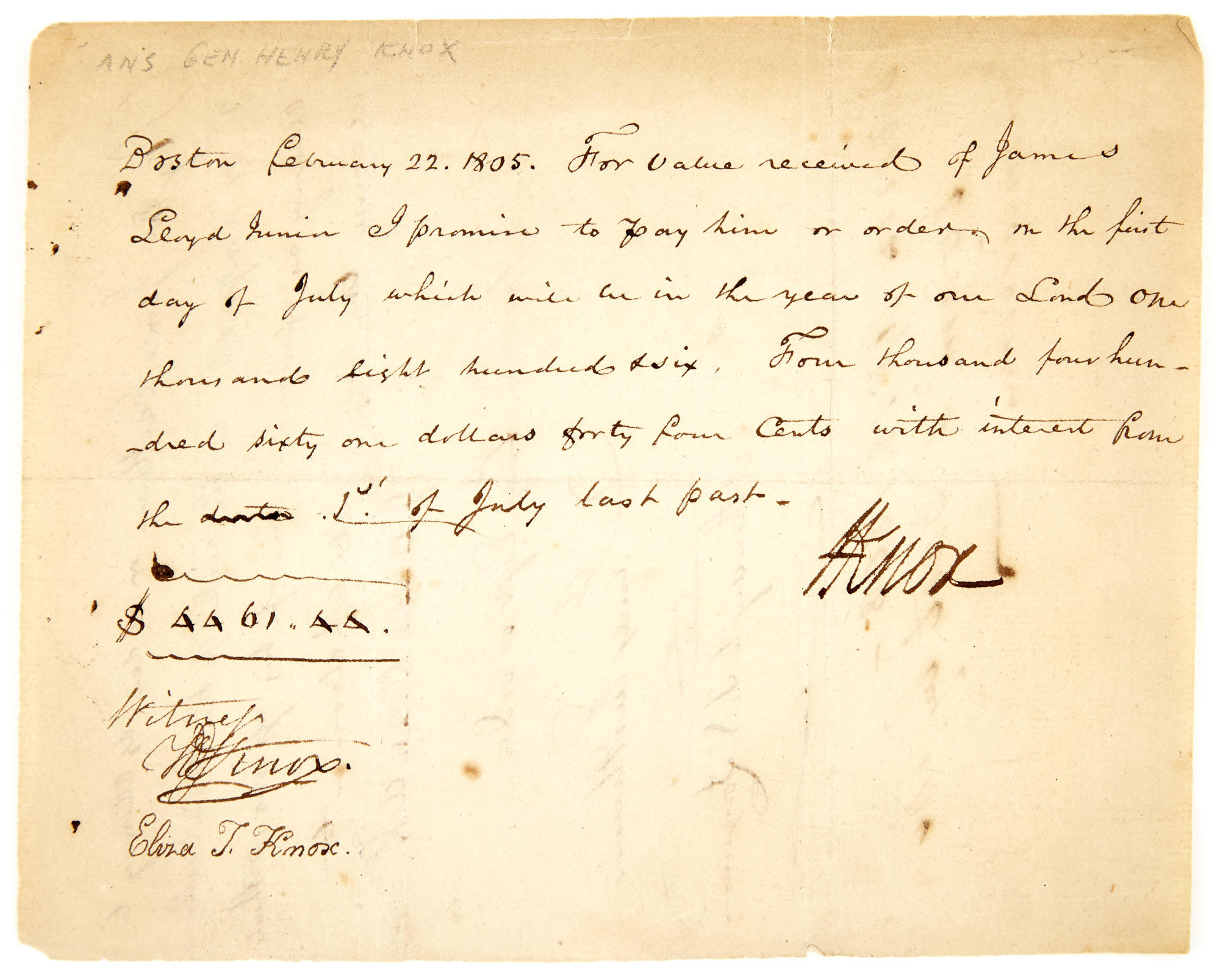 Lot image - KNOX, HENRY  Document signed