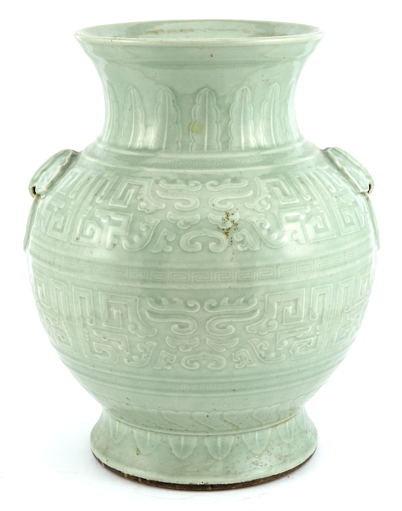 Lot image - Chinese Celadon Ground Porcelain Large Vase