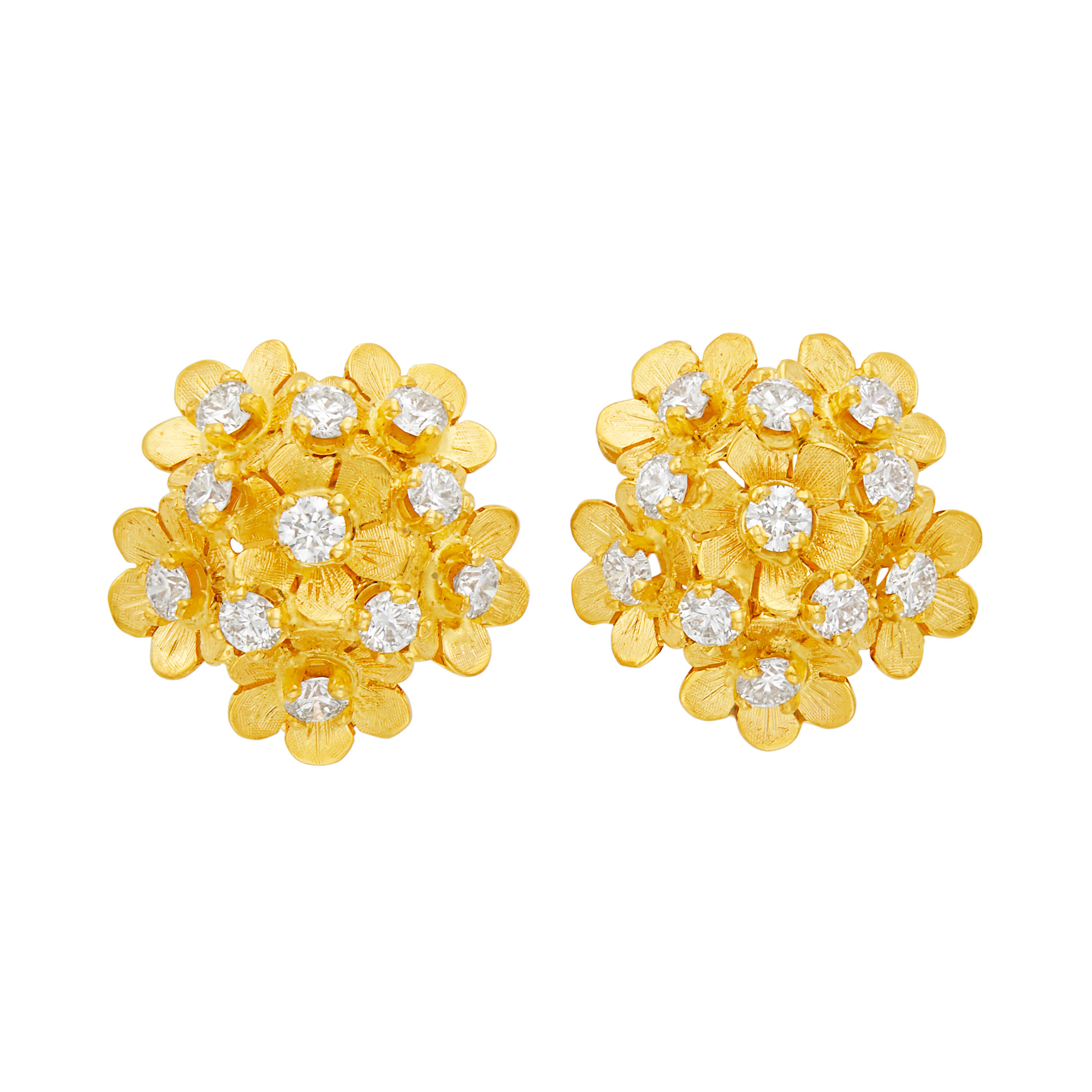 Lot image - Pair of Gold and Diamond Flower Dome Earclips