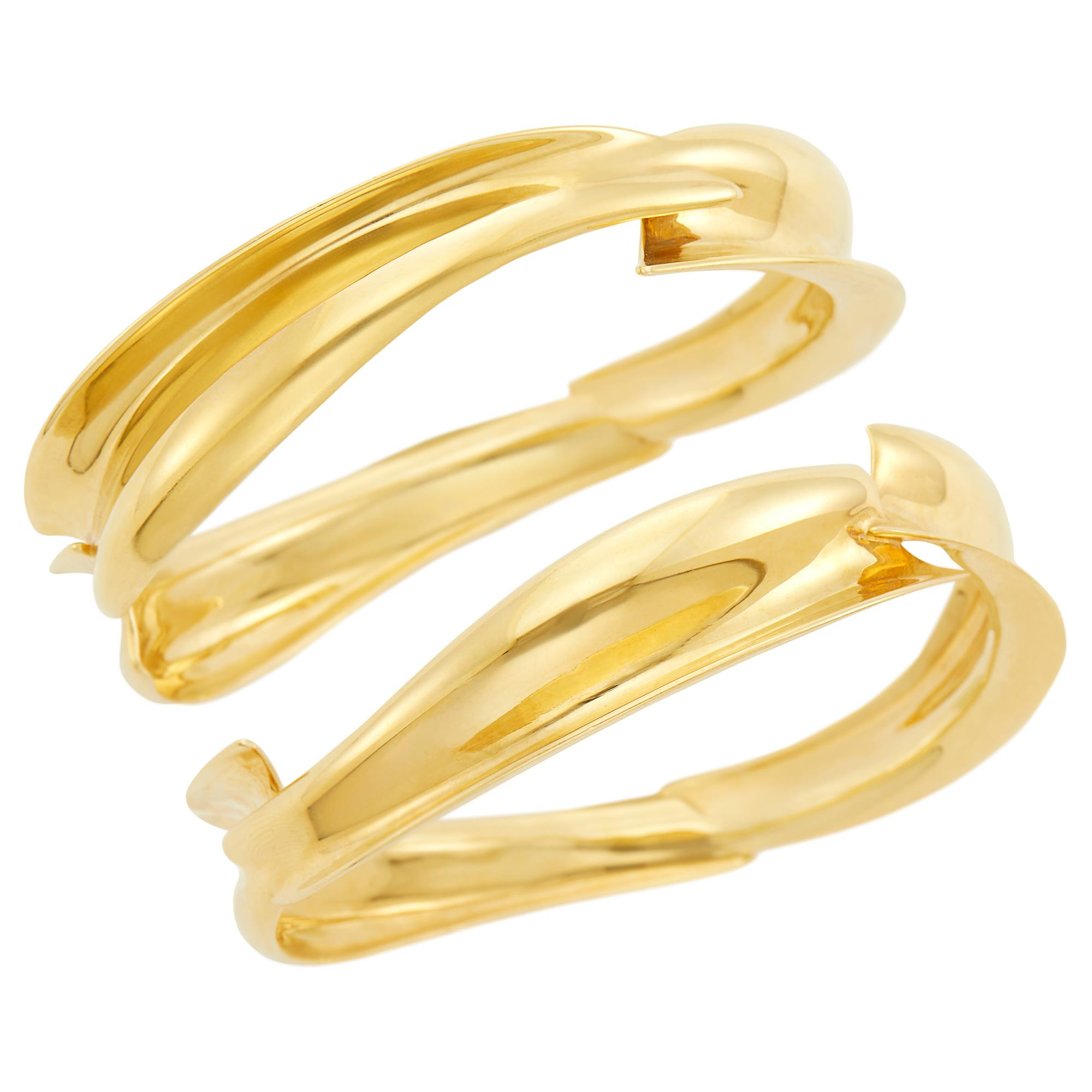 Lot image - Tiffany & Co., Frank Gehry Pair of Gold Fish Bangle Bracelets