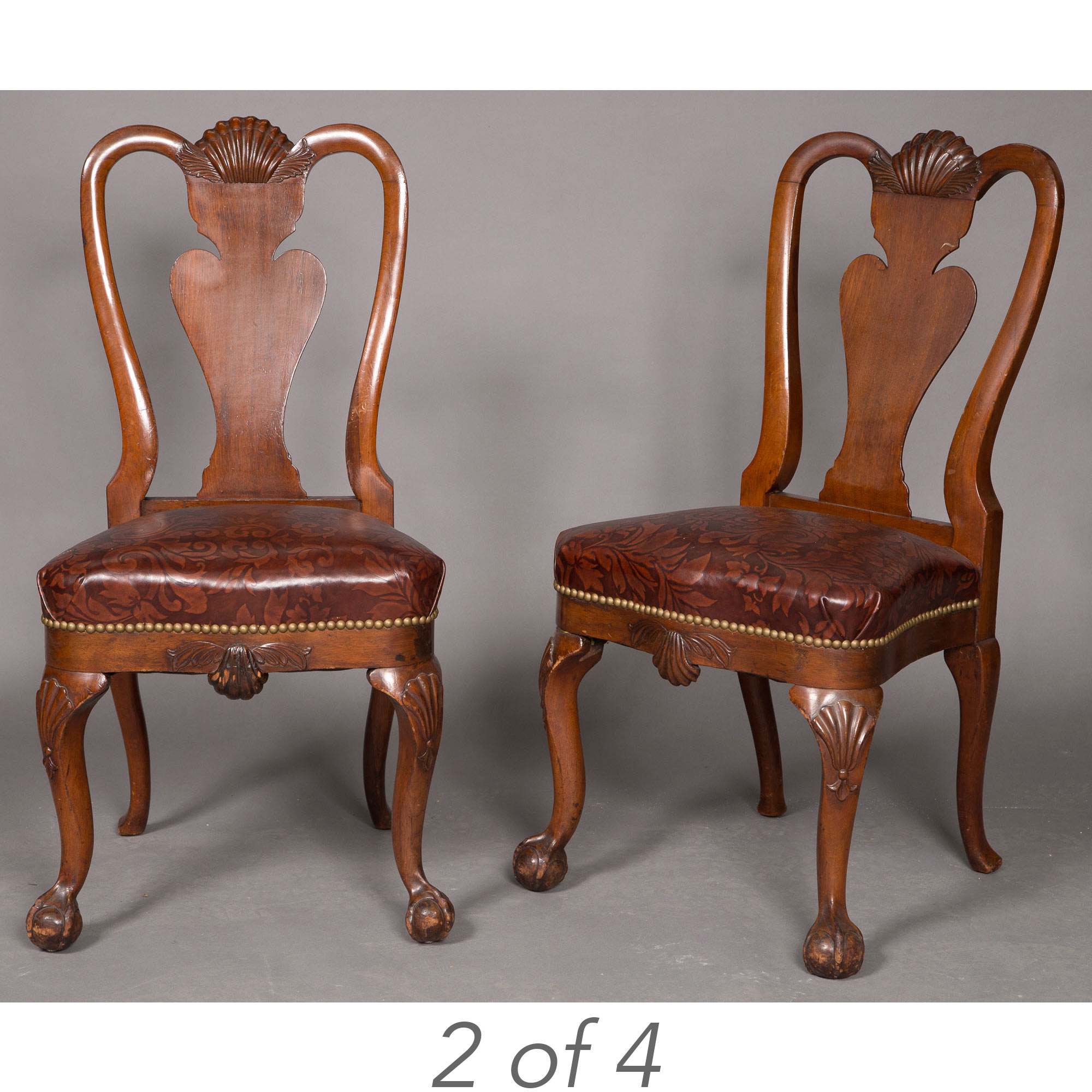 Lot image - Set of Four George II Style Walnut Dining Chairs