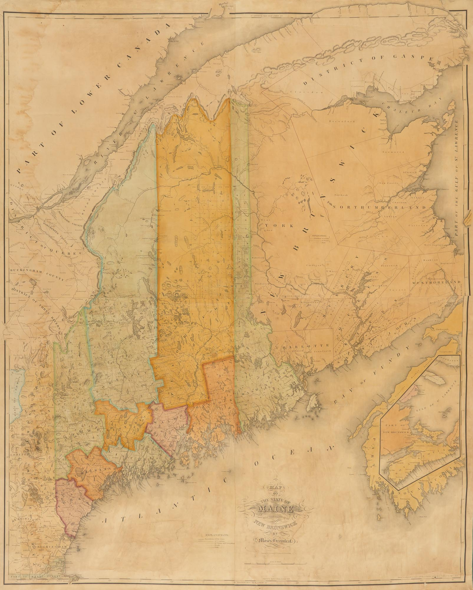 Lot image - [MAINE]  GREENLEAF, MOSES. Map of the State of Maine with the Province of New Brunswick.