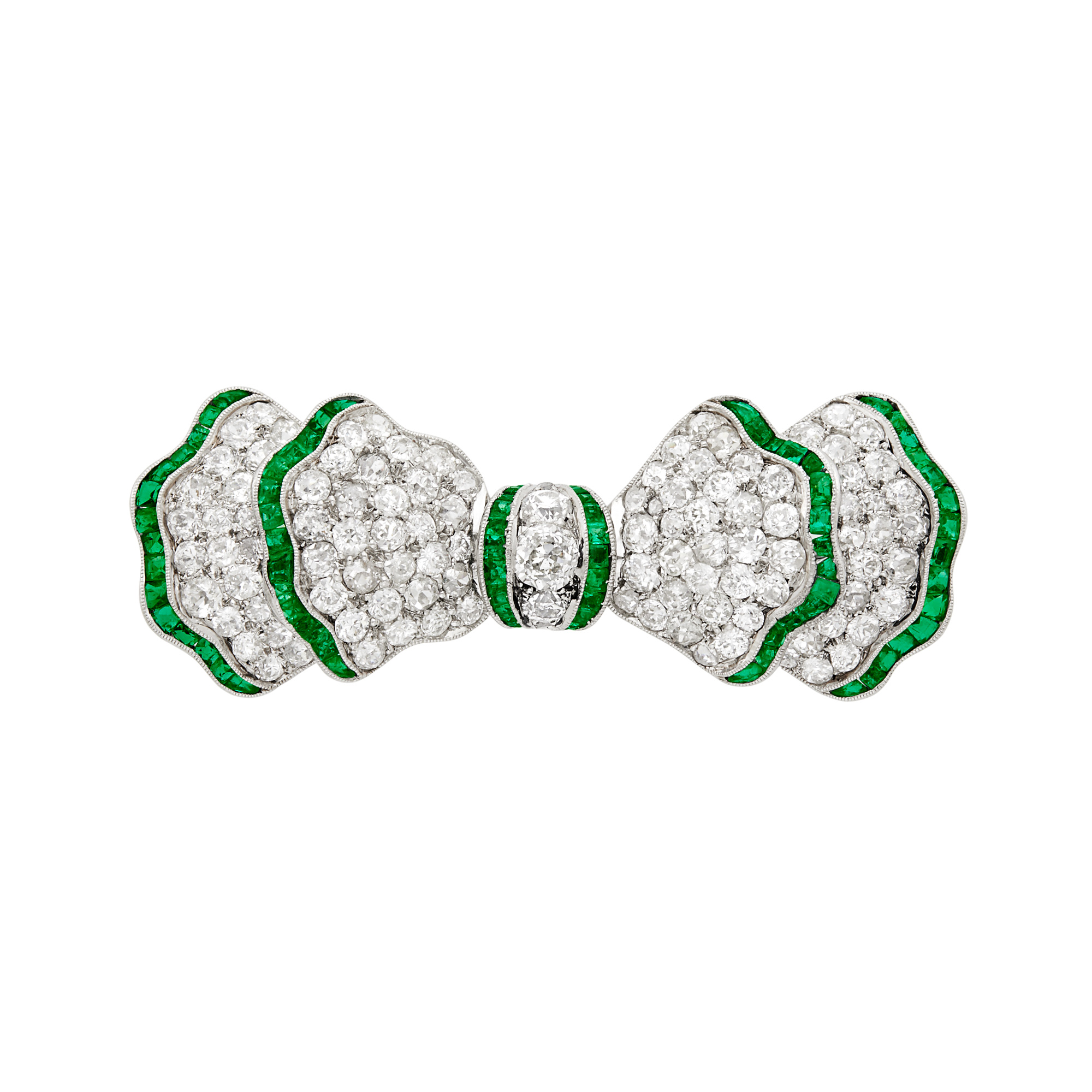 Lot image - Platinum, Emerald and Diamond Bow Brooch