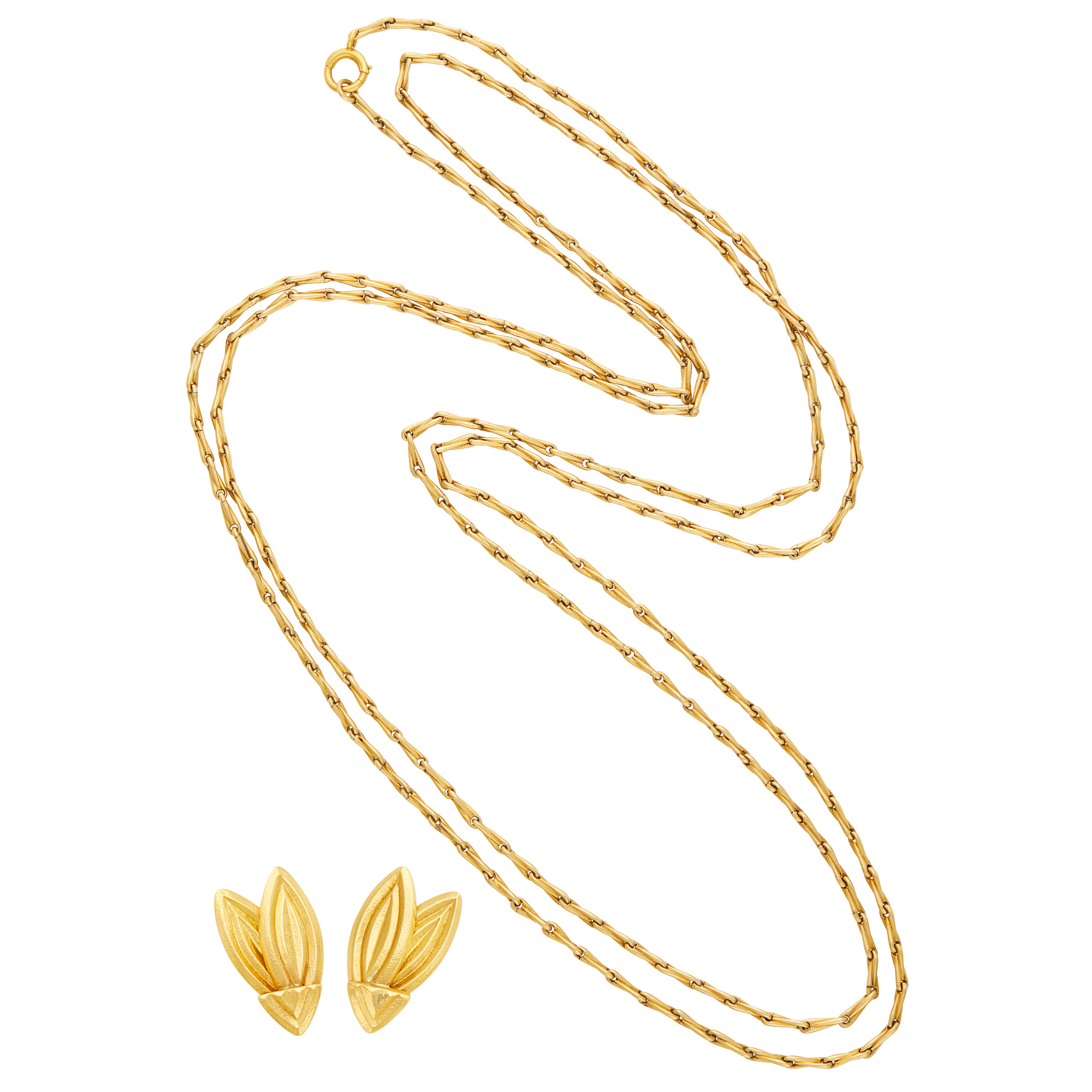 Lot image - Long Gold Chain Necklace and Pair of Hammered Gold Leaf Earrings