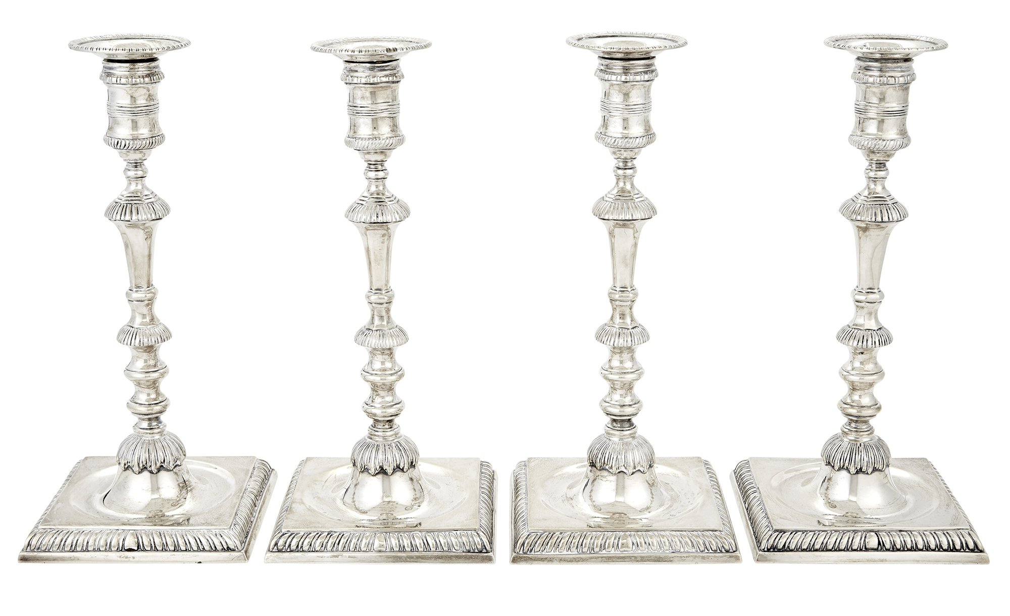 Lot image - Set of Four English George II Style Sterling Silver Candlesticks