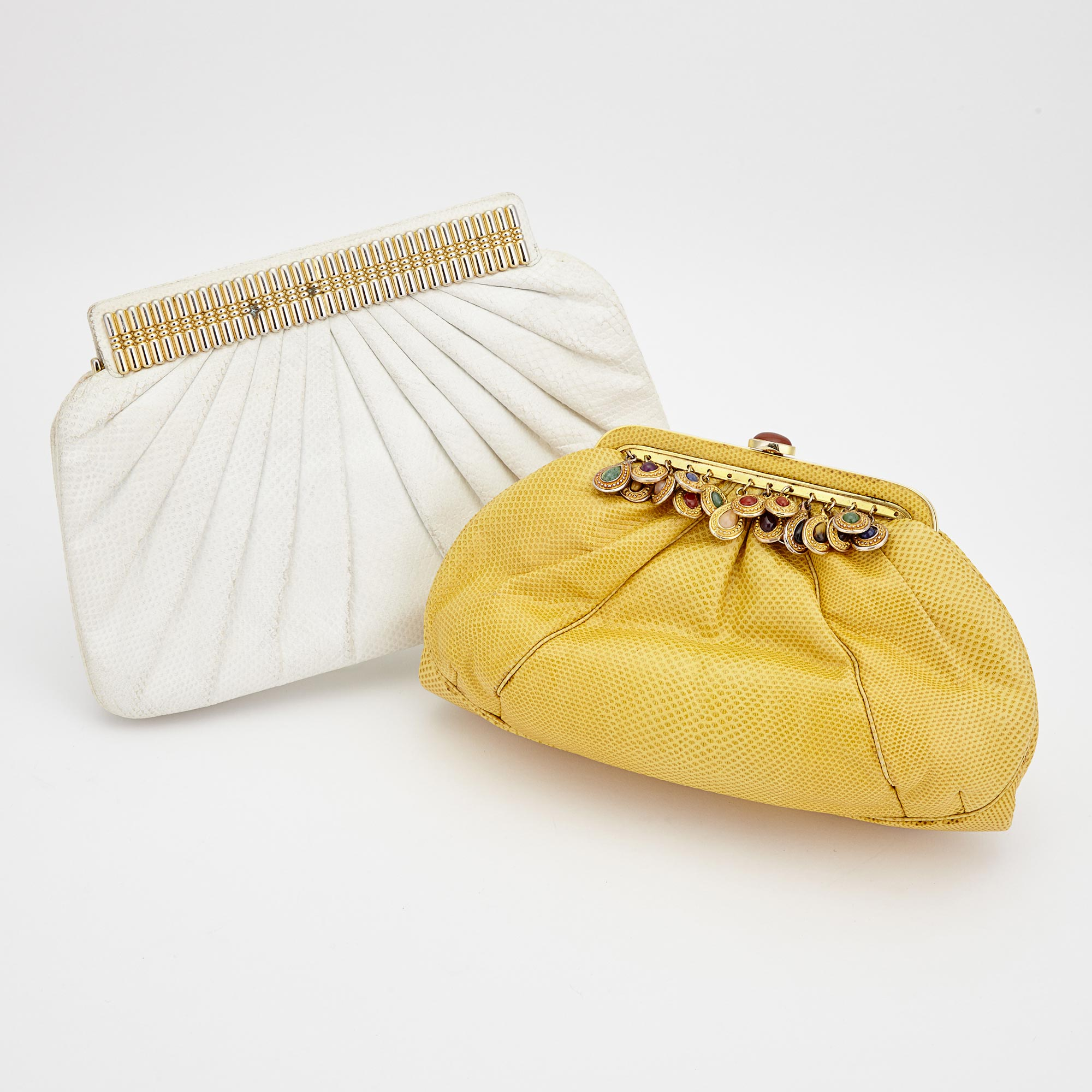 Lot image - Two White and Yellow Leather Evening Bags, Judith Leiber