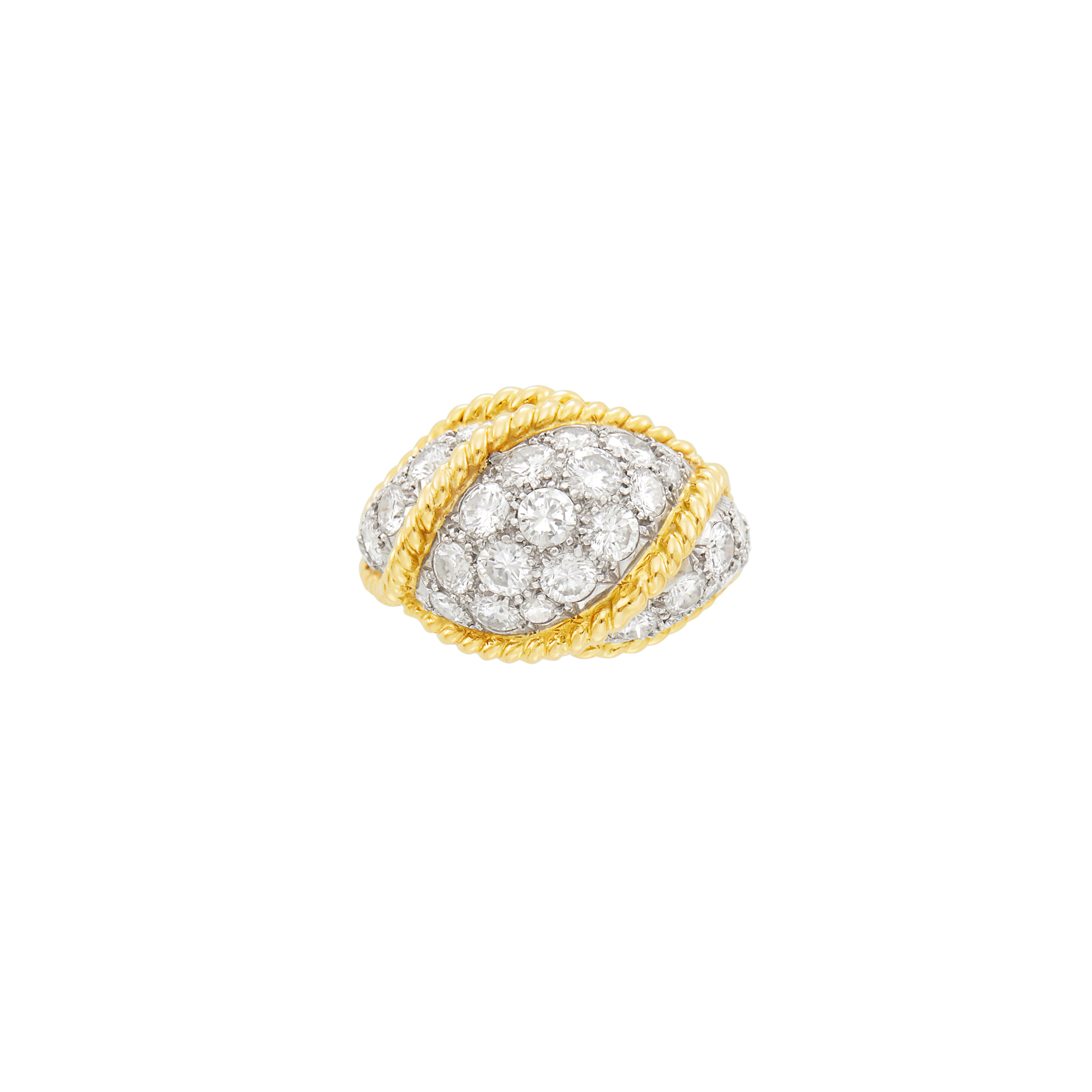 Lot image - Gold, Platinum and Diamond Dome Ring