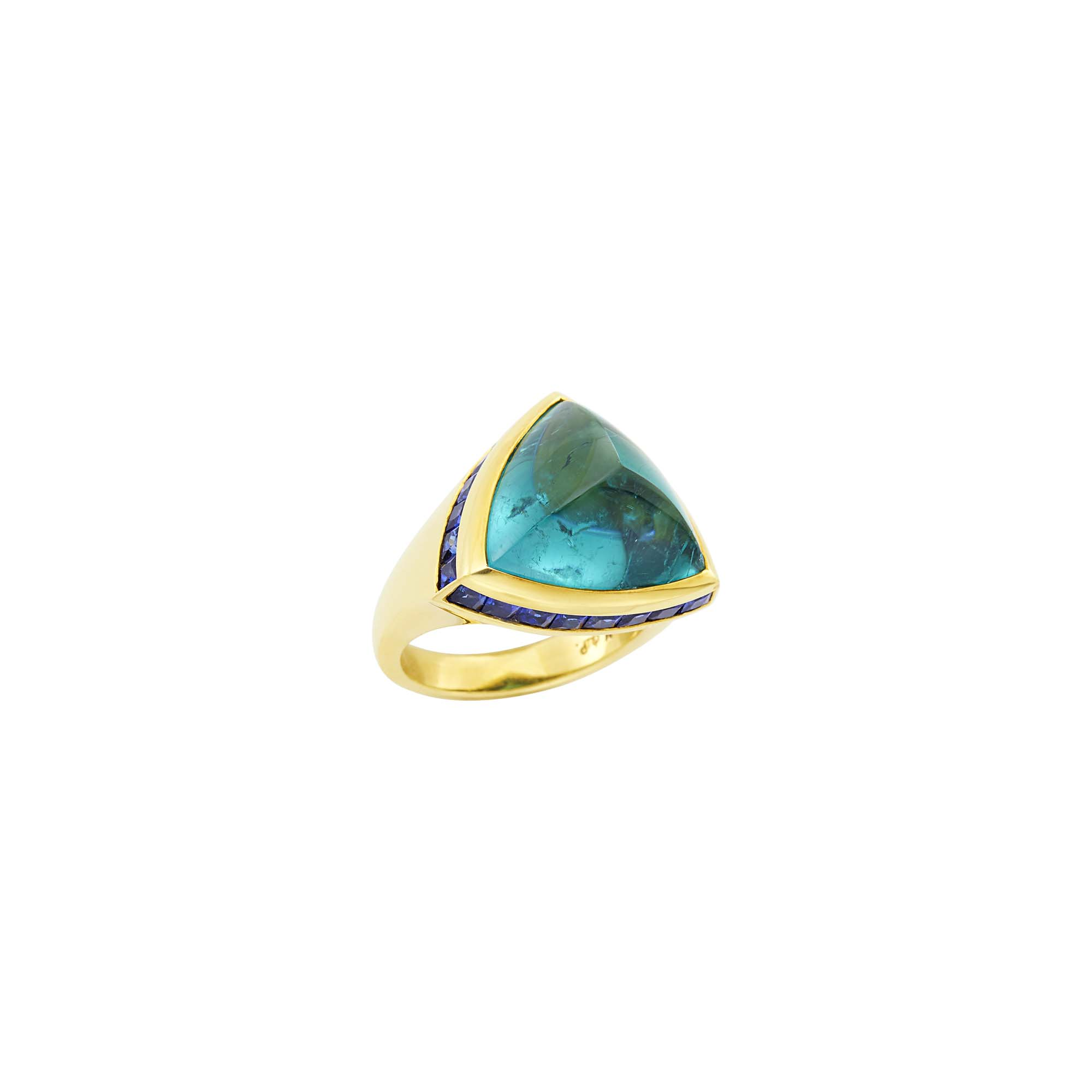 Lot image - Gold, Cabochon Tourmaline and Sapphire Ring