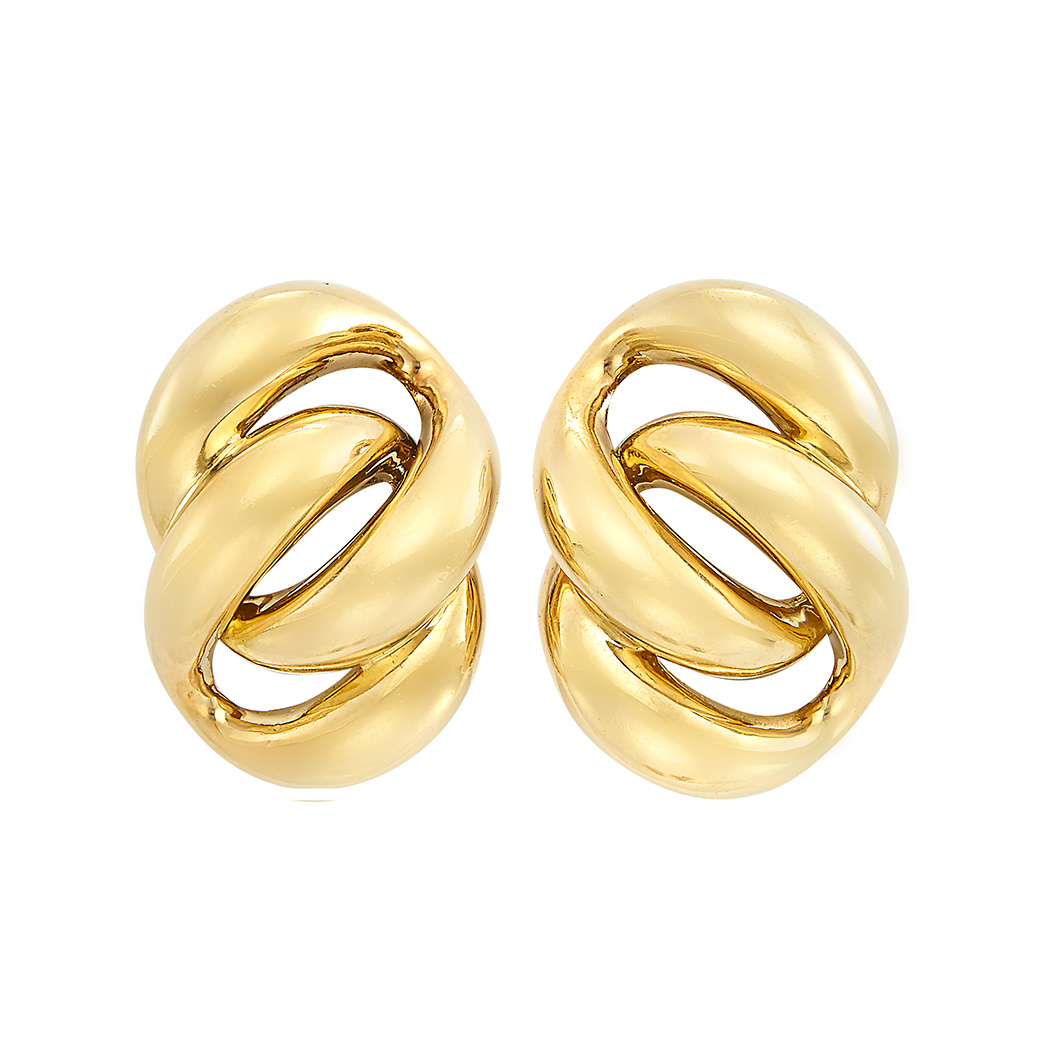 Lot image - Pair of Gold Earclips
