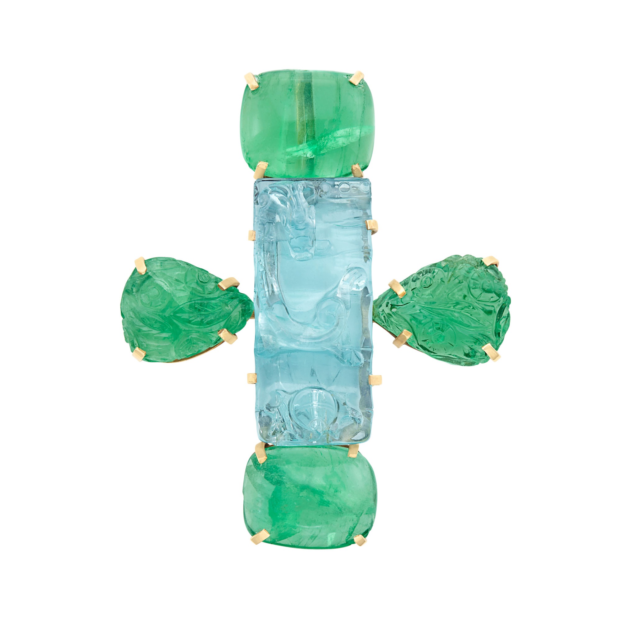Lot image - Gold, Carved Aquamarine and Cabochon Emerald Pendant-Brooch