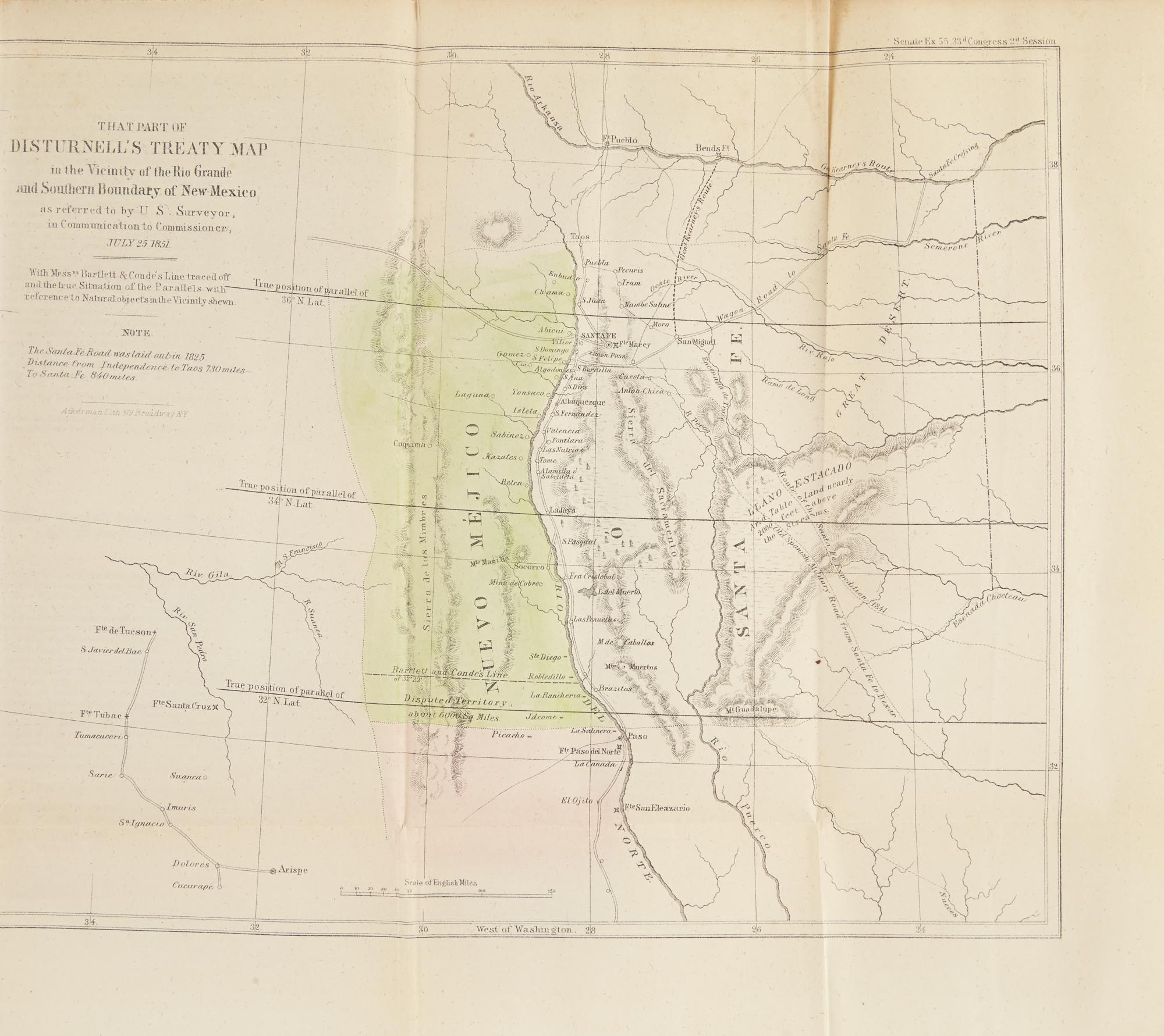 Lot image - [MEXICAN BOUNDARY SURVEY]  Report of the Secretary of the Interior, in compliance with A resolution of the Senate, of January 22, communicating a report and map of A. B. Gray, relative to the Mexican boundary.