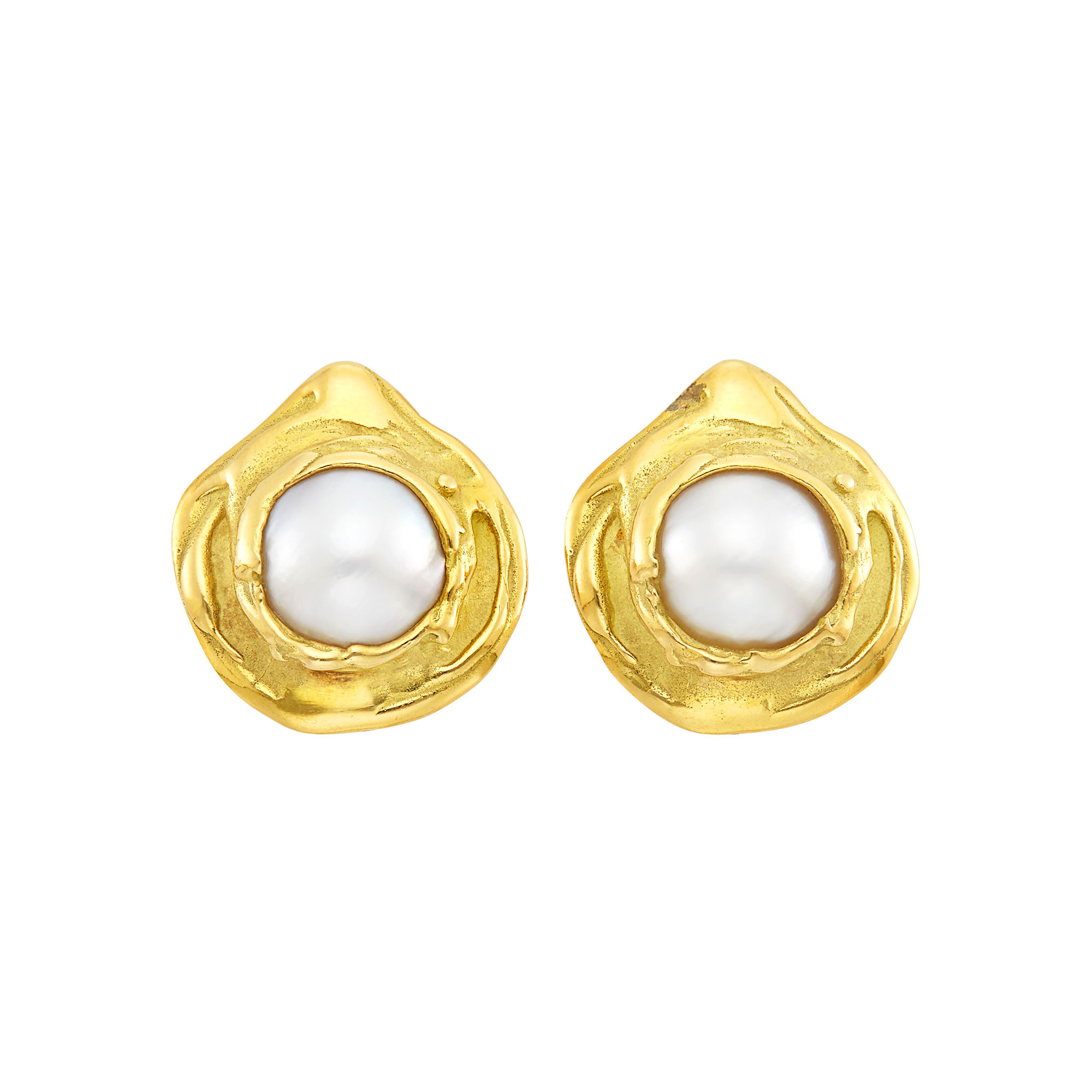 Lot image - Pair of Gold and Mabé Pearl Earclips, Elizabeth Gage