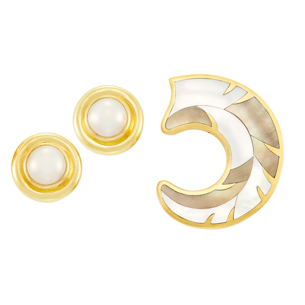 Lot image - Gold and Mother-of-Pearl Brooch, Tiffany & Co., and Pair of Gold and Mabé Pearl Earclips, Tiffany & Co., Paloma Picasso