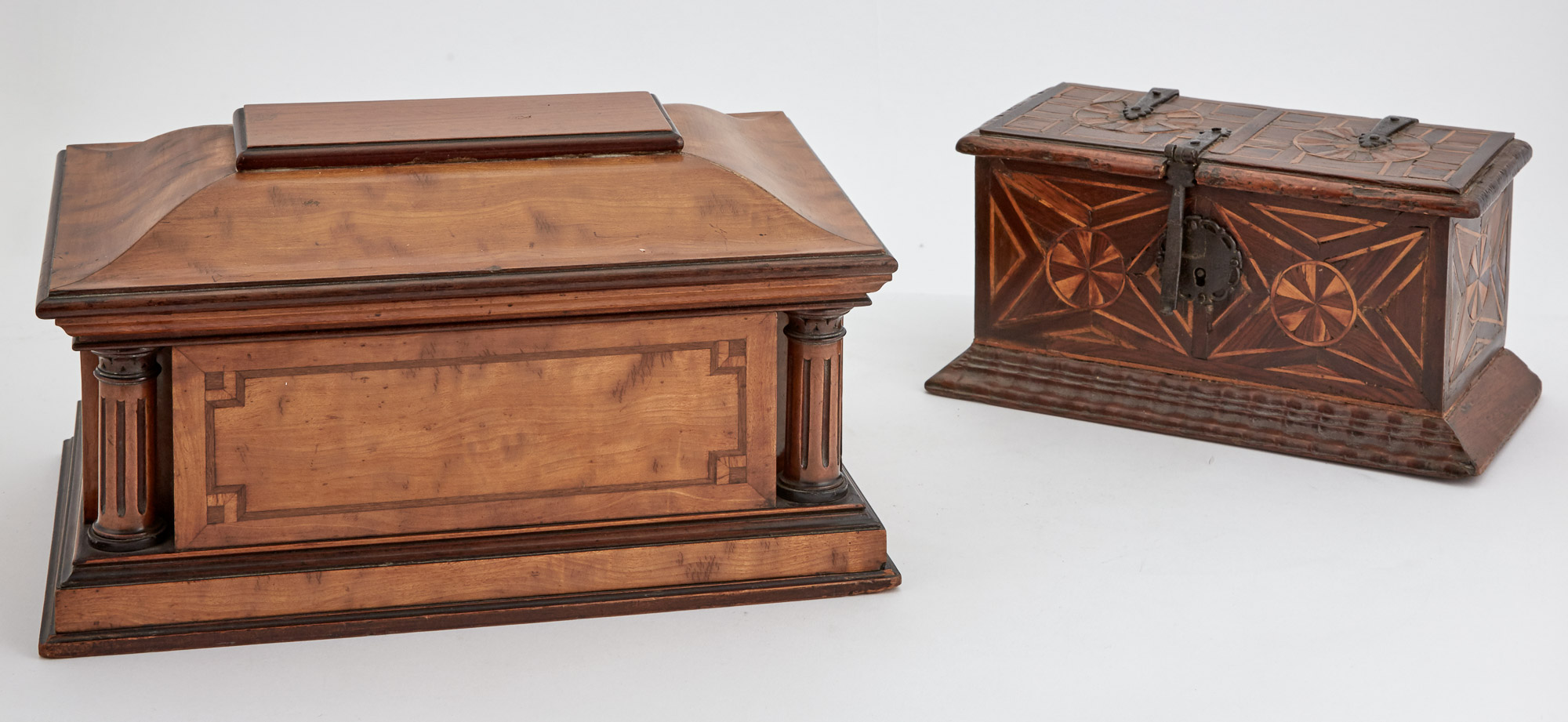 Lot image - Italian Neoclassical Style Iron-Mounted Parquetry Inlaid Walnut Box