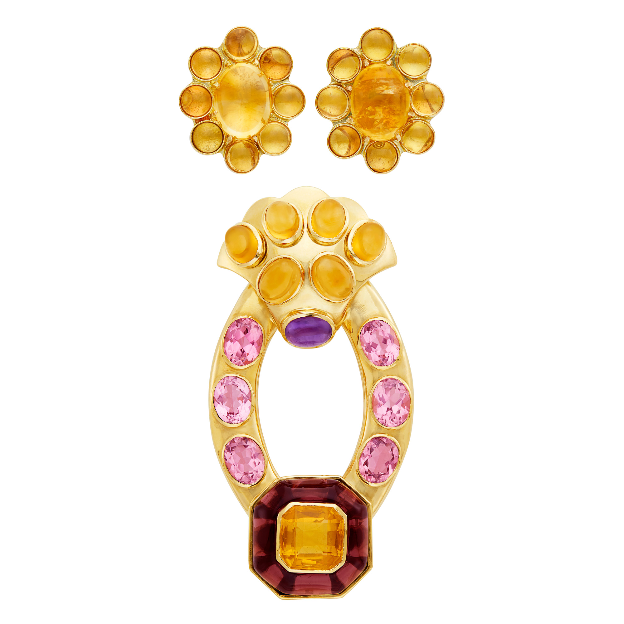 Lot image - Gold and Colored Stone Clip-Brooch and Pair of Cabochon Citrine Earclips