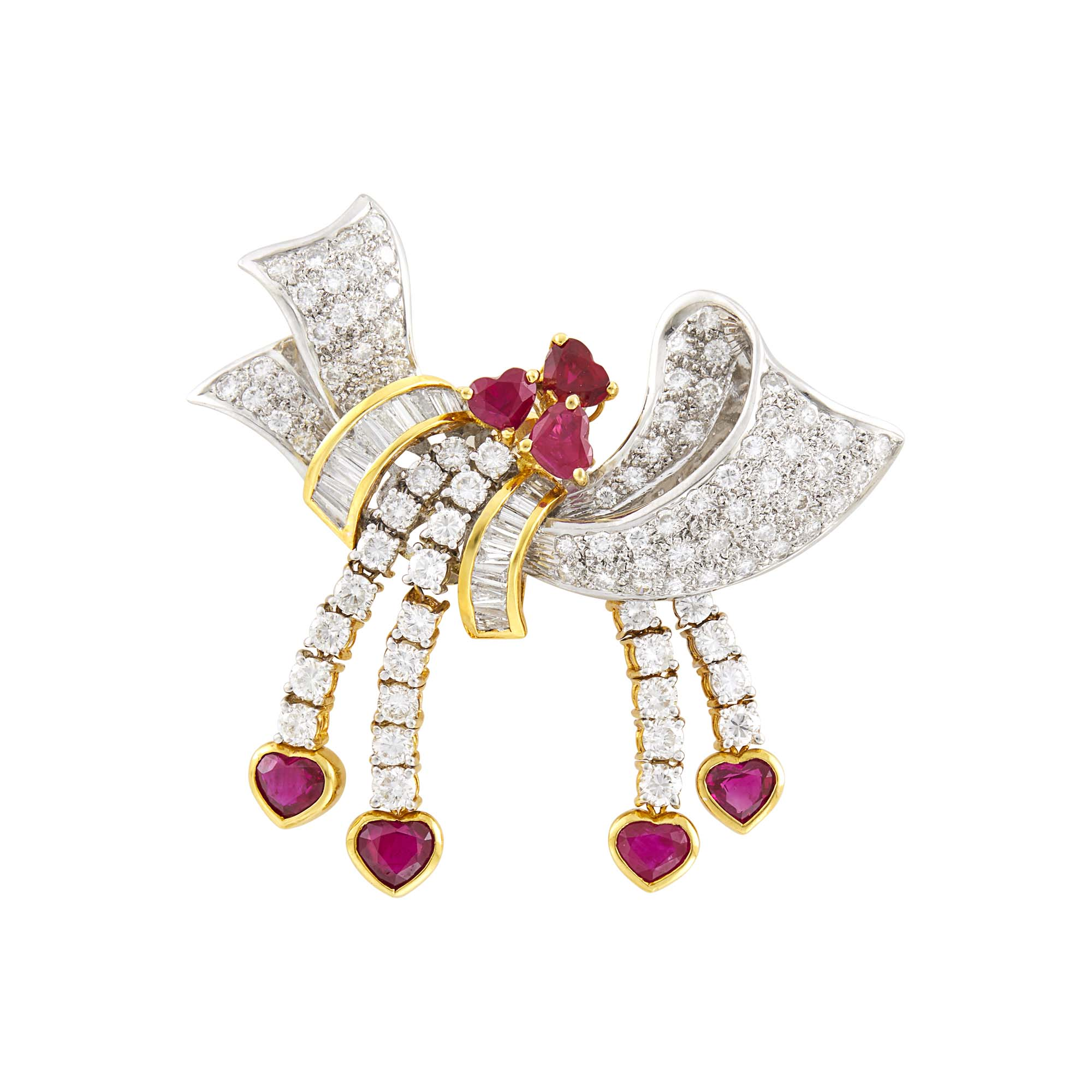 Lot image - Platinum, Gold, Diamond and Ruby Bow Pin