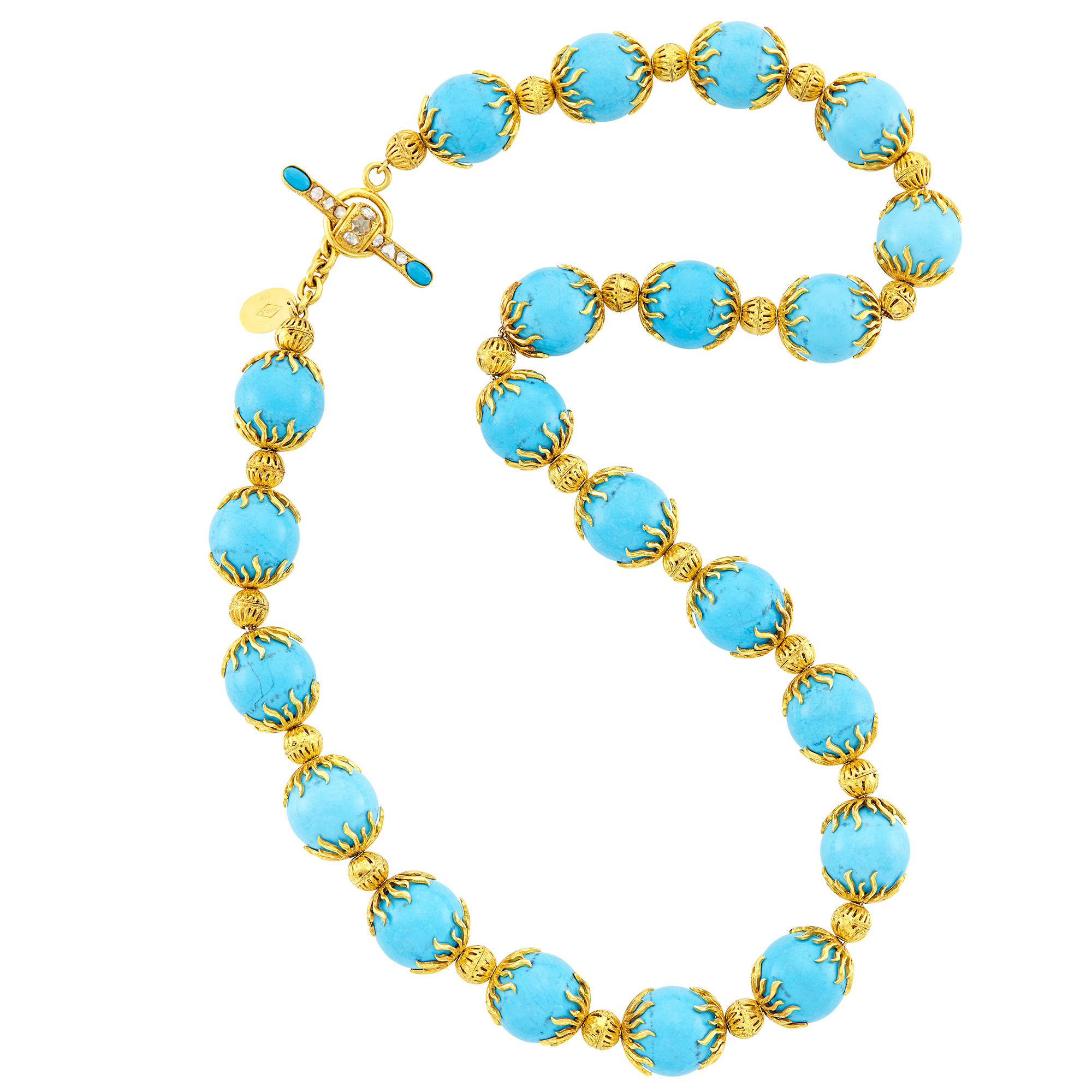 Lot image - Gold, Dyed Magnesite Bead and Diamond Necklace