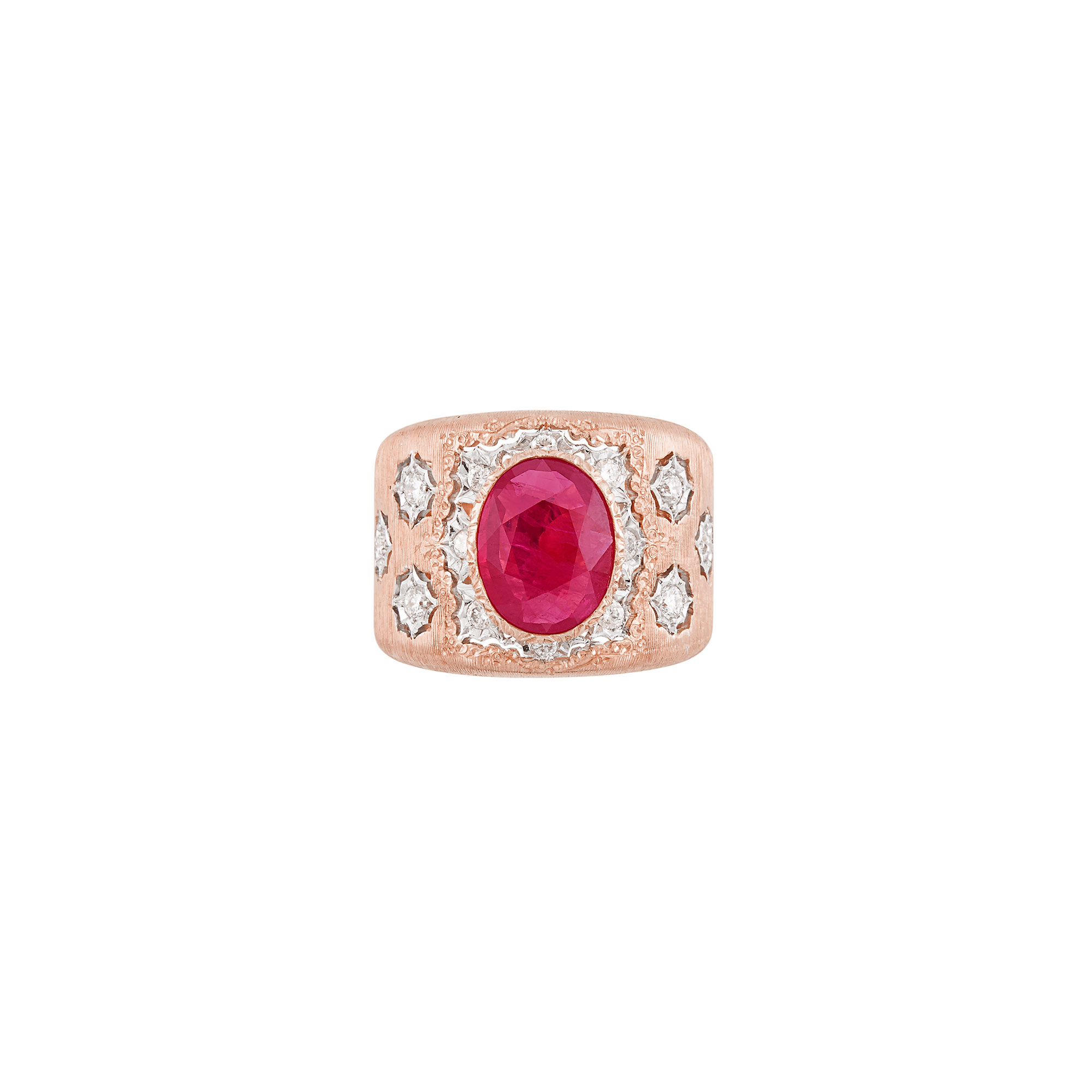 Lot image - Wide Two-Color Gold, Ruby and Diamond Band Ring, Mario Buccellati