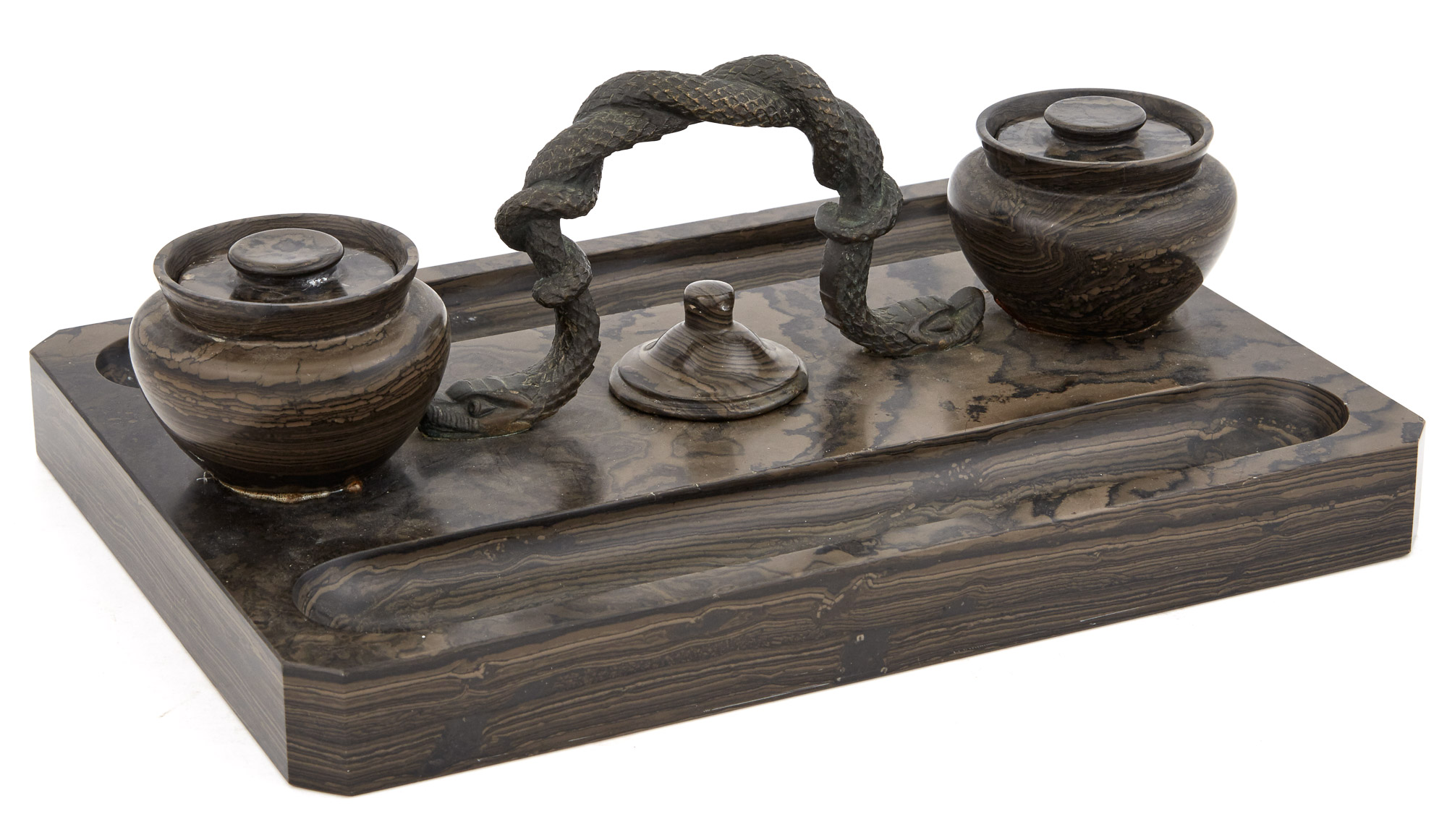 Lot image - Patinated Bronze-Mounted Marble Inkstand