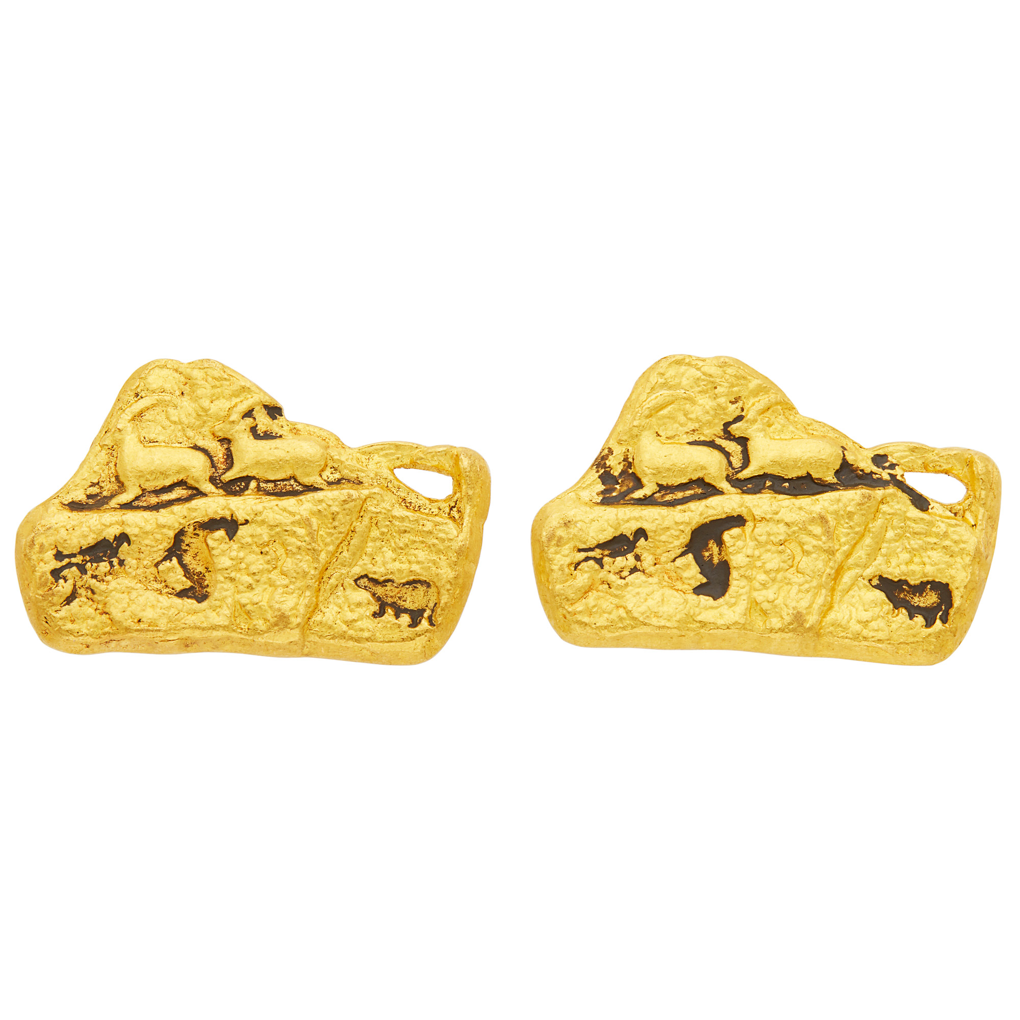 Lot image - Two Gold Petroglyph Brooches
