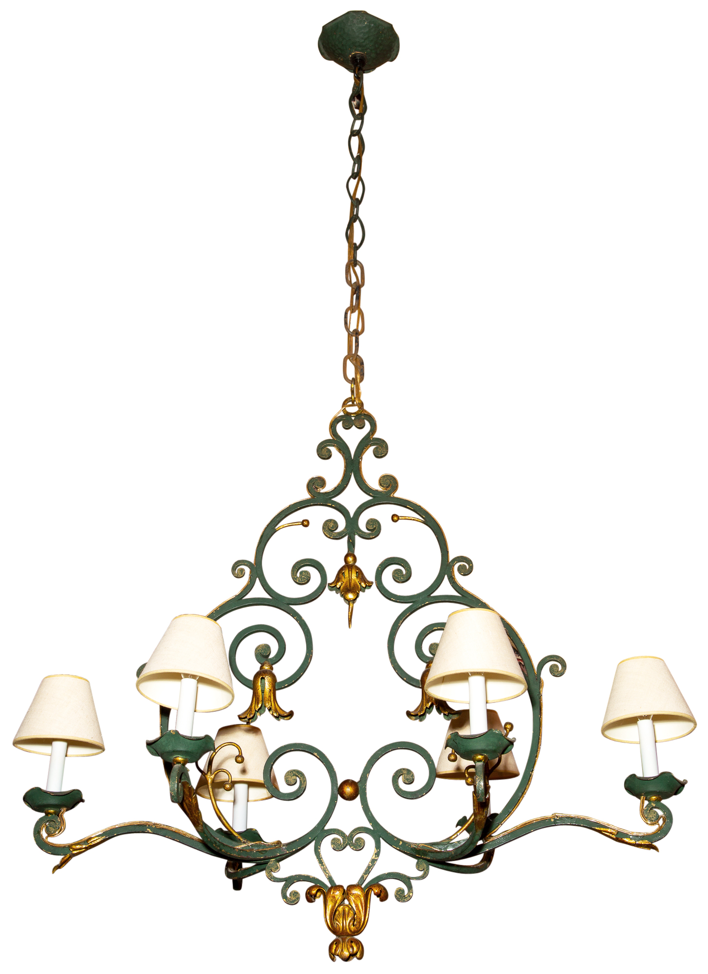 Lot image - Continental Painted and Parcel-Gilt Wrought-Iron Six-Light Chandelier