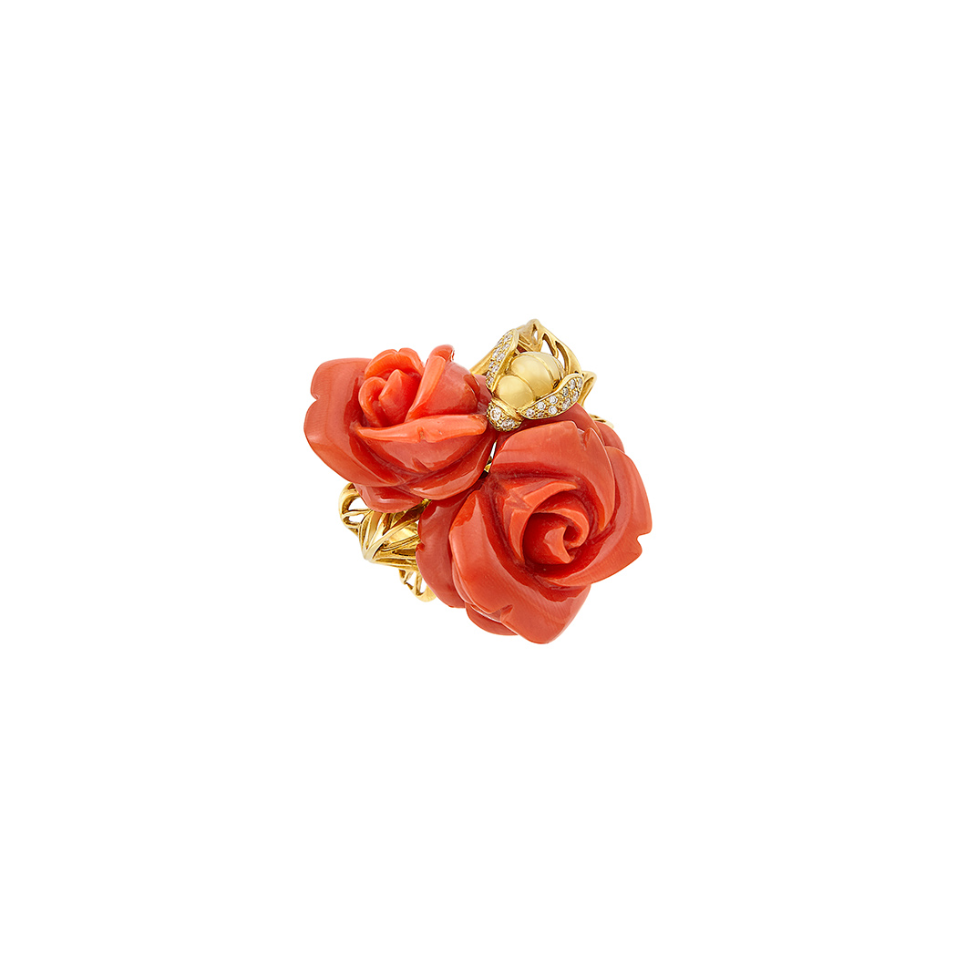 Lot image - Gold, Carved Coral and Diamond Flower Ring, Christian Dior, France