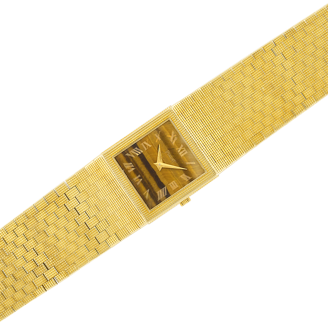 Lot image - Gold and Tigers Eye Wristwatch, Piaget