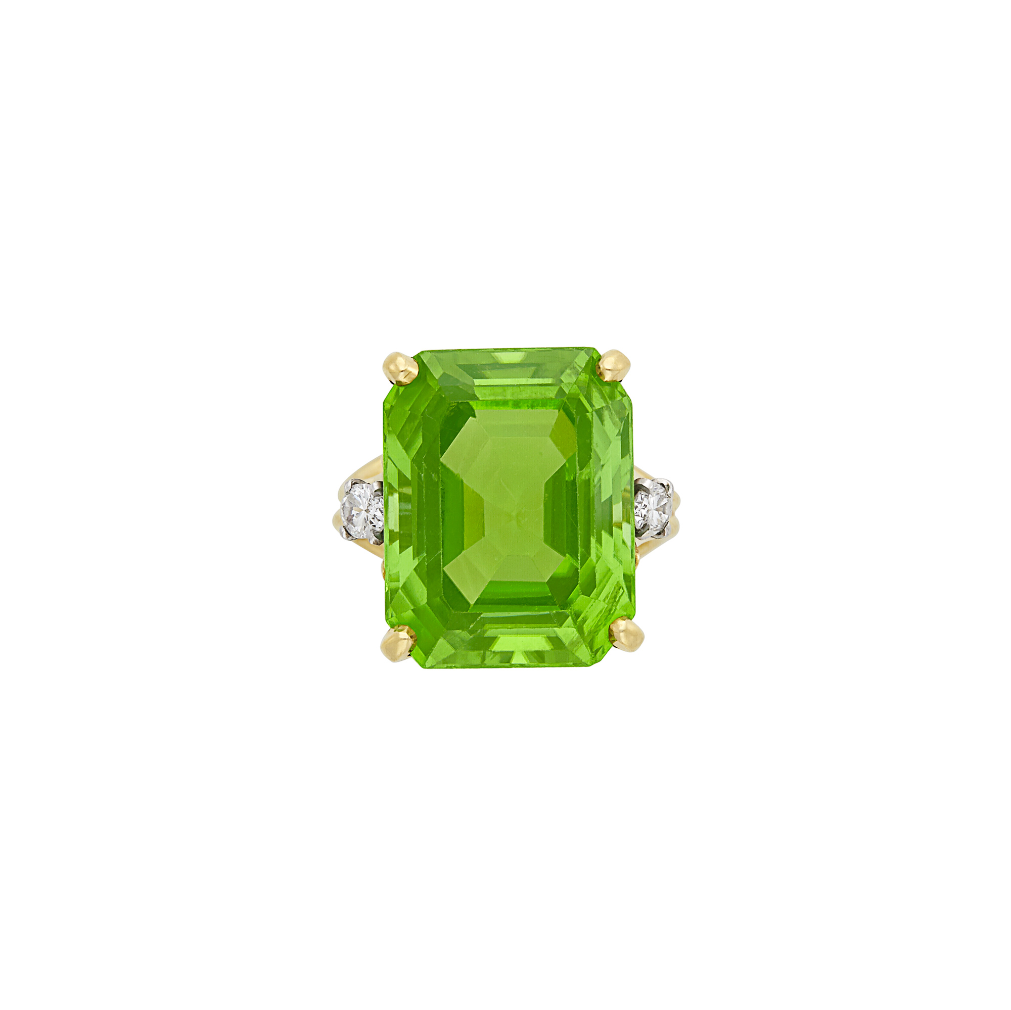 Lot image - Gold, Peridot and Diamond Ring