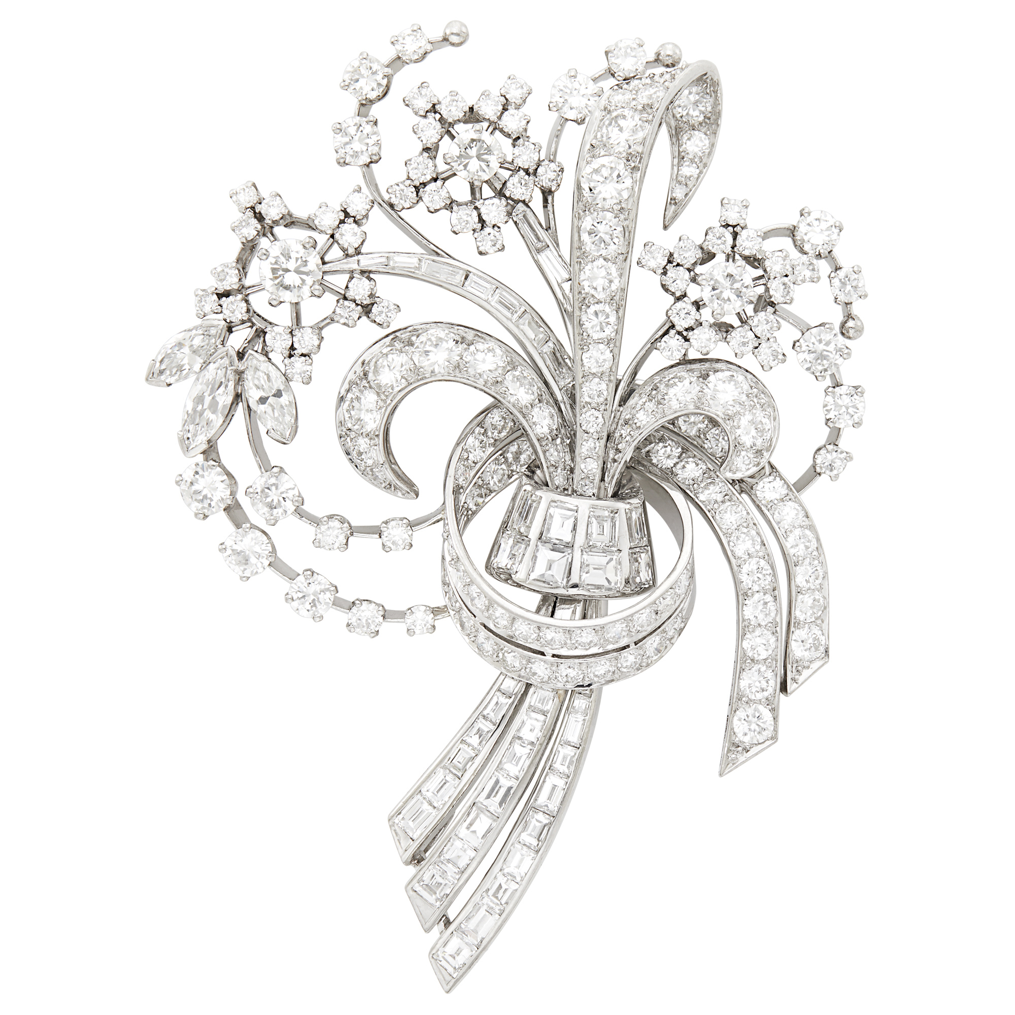 Lot image - Platinum and Diamond Bouquet Clip-Brooch