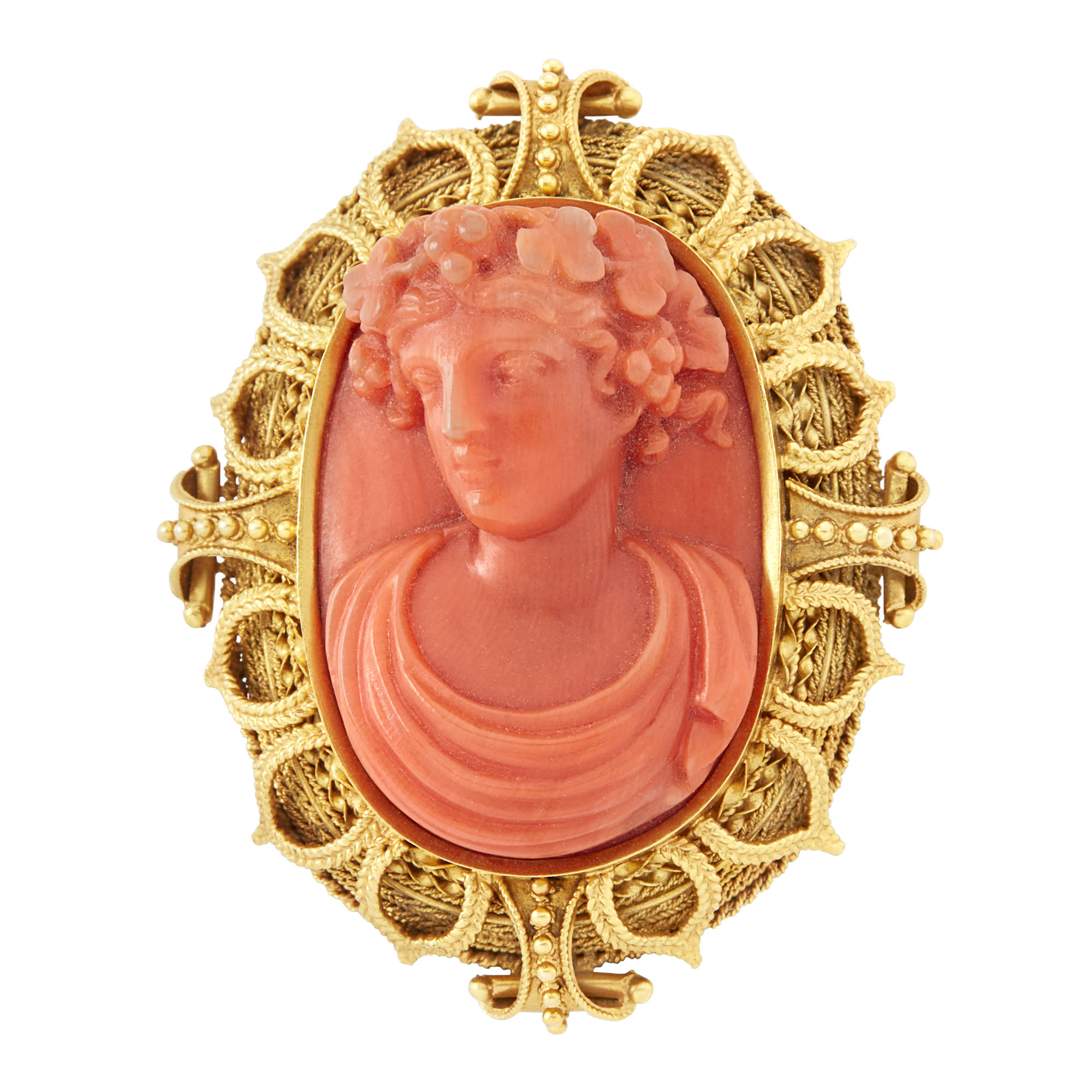 Lot image - Gold and Carved Coral Cameo Brooch