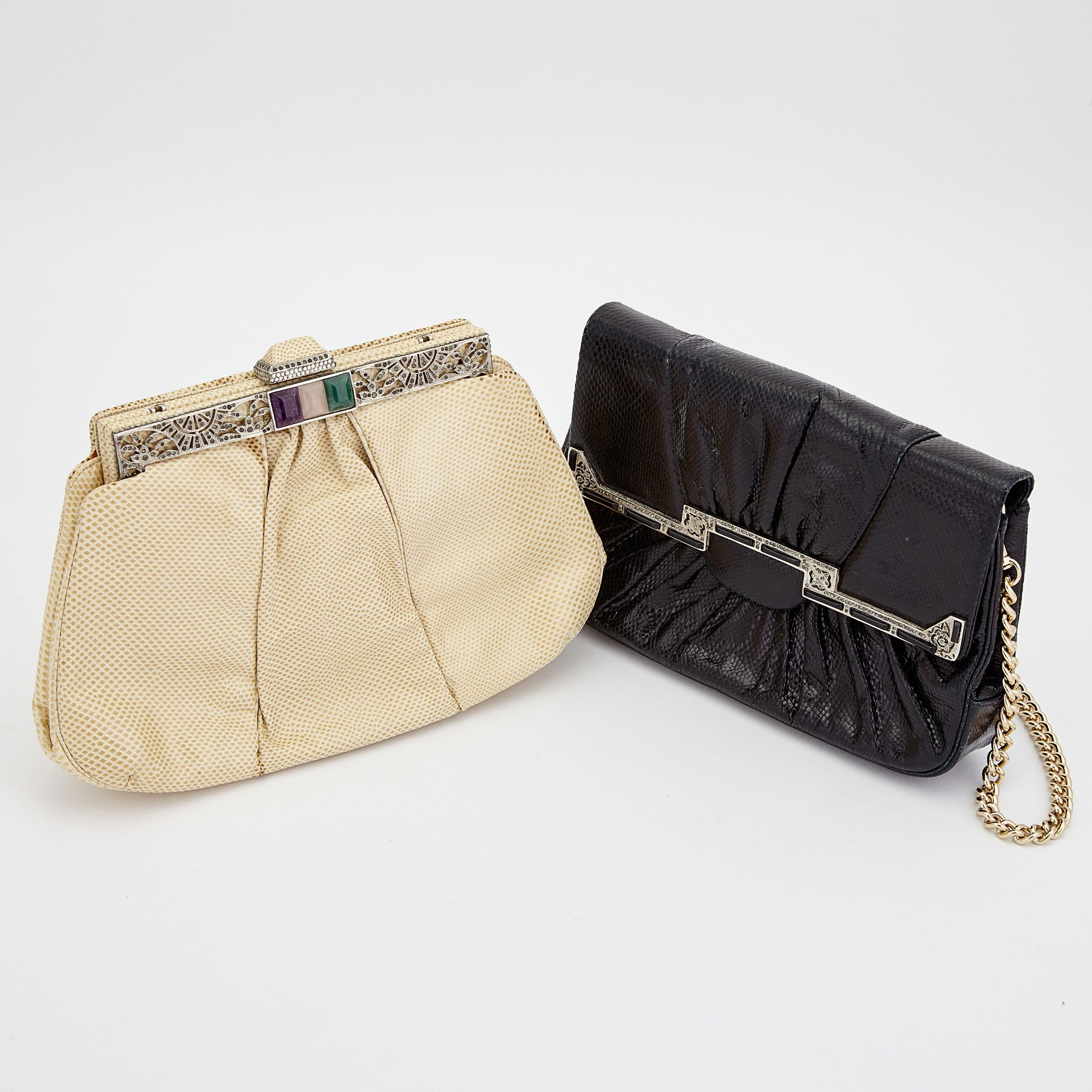Lot image - Two Black and Cream Leather Clutches, Judith Leiber