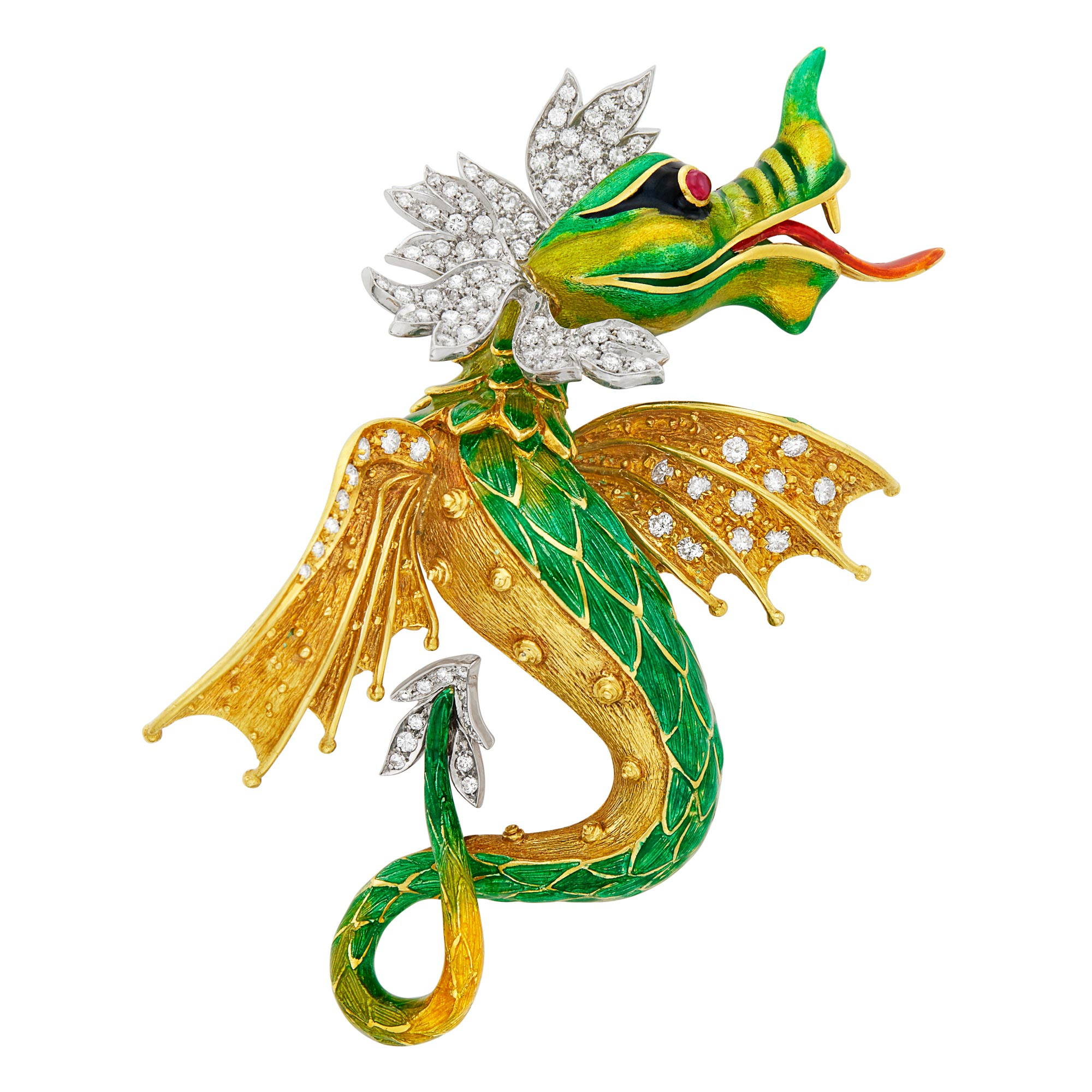Lot image - Two-Color Gold, Enamel and Diamond Dragon Clip-Brooch