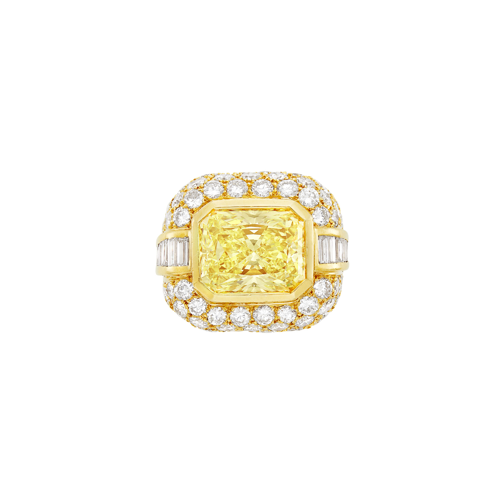 Lot image - Gold, Yellow Diamond and Diamond Ring