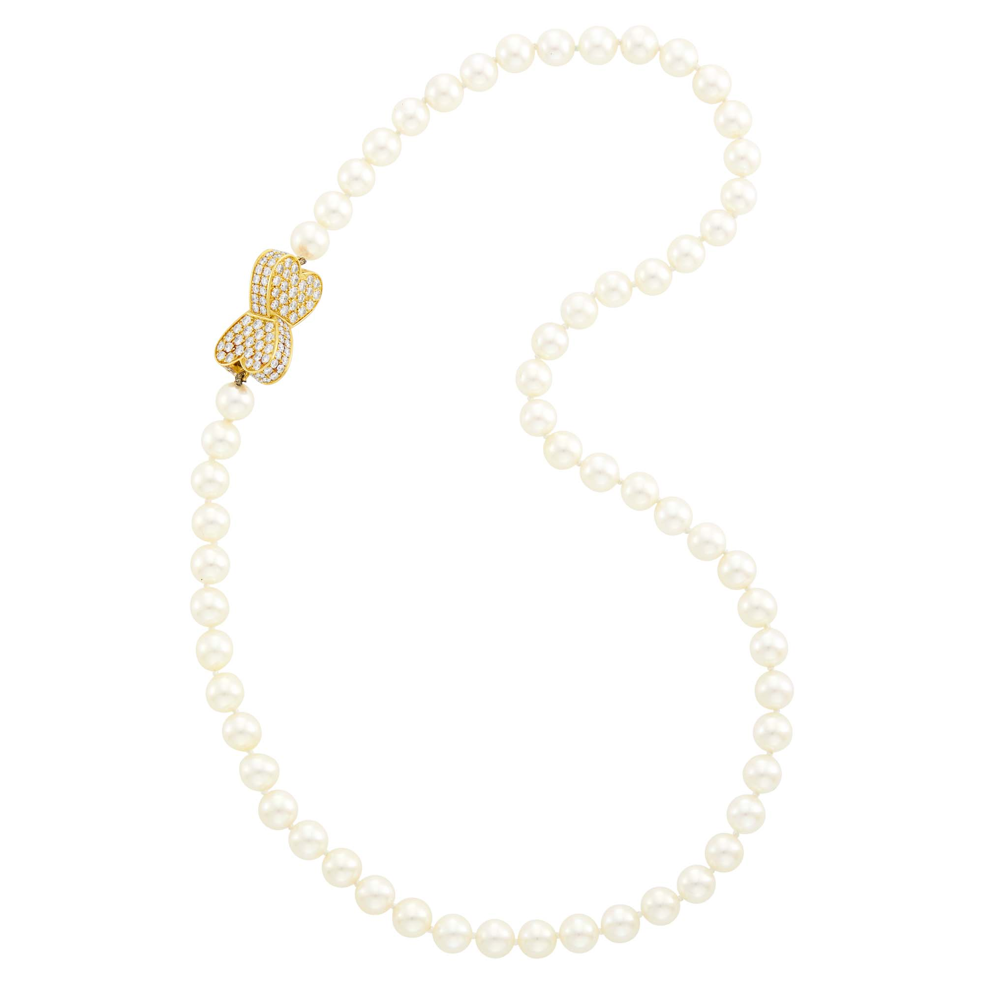 Lot image - Van Cleef & Arpels Cultured Pearl Necklace with Gold and Diamond Heart Clasp