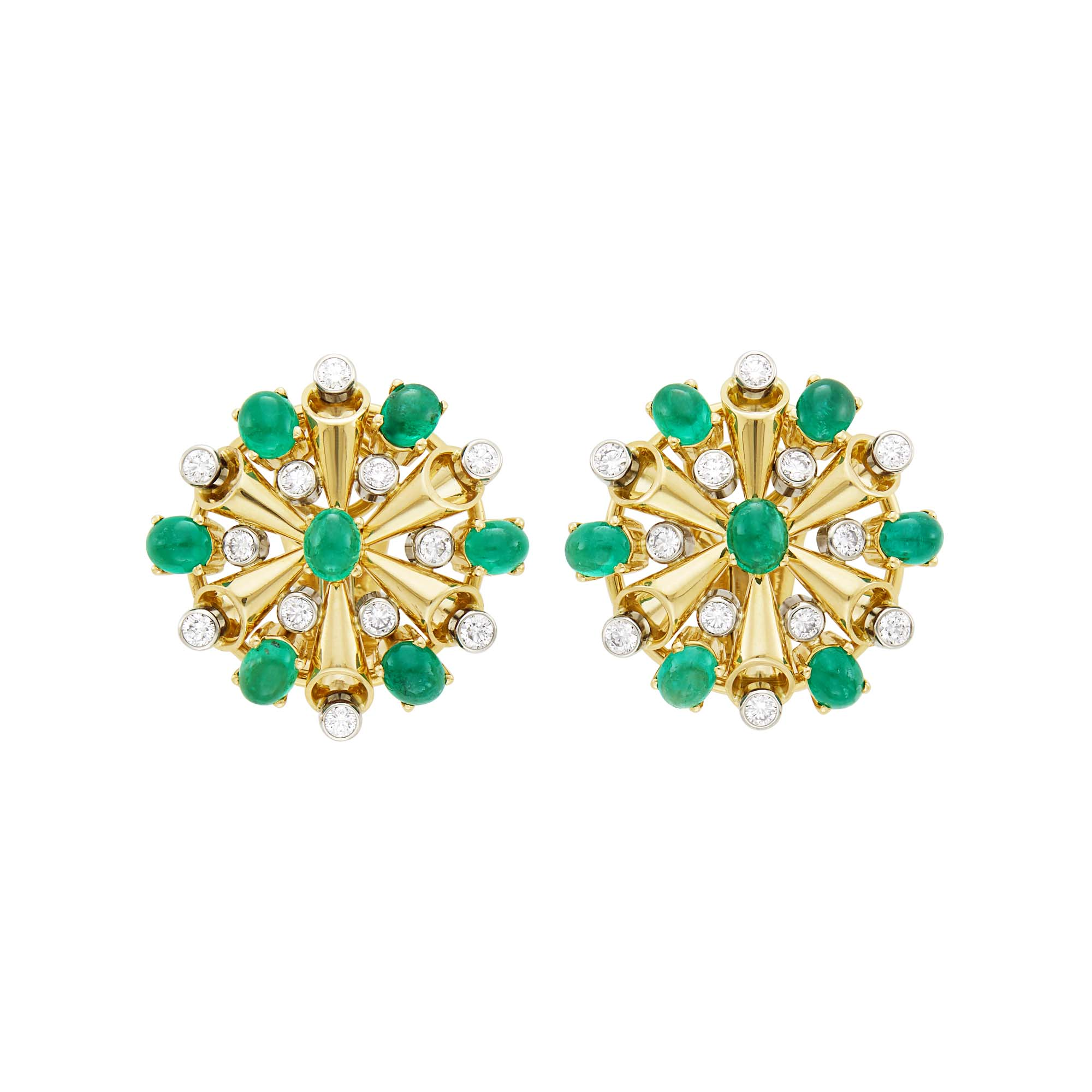 Lot image - Aletto Brothers Pair of Gold, Cabochon Emerald and Diamond Earclips