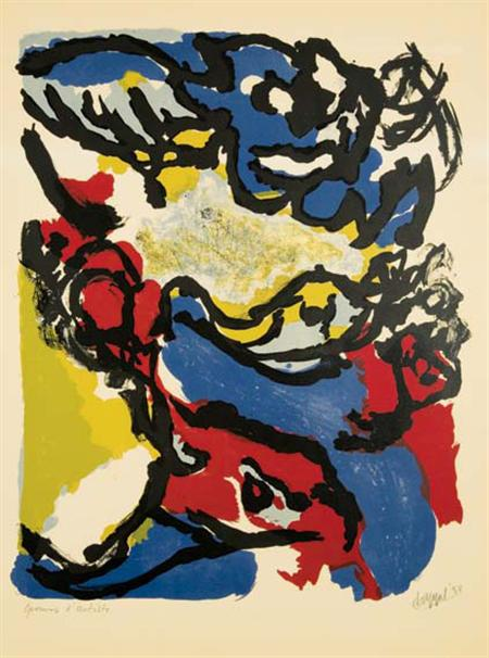 Lot image - Karel Appel COMPOSITION Color lithograph